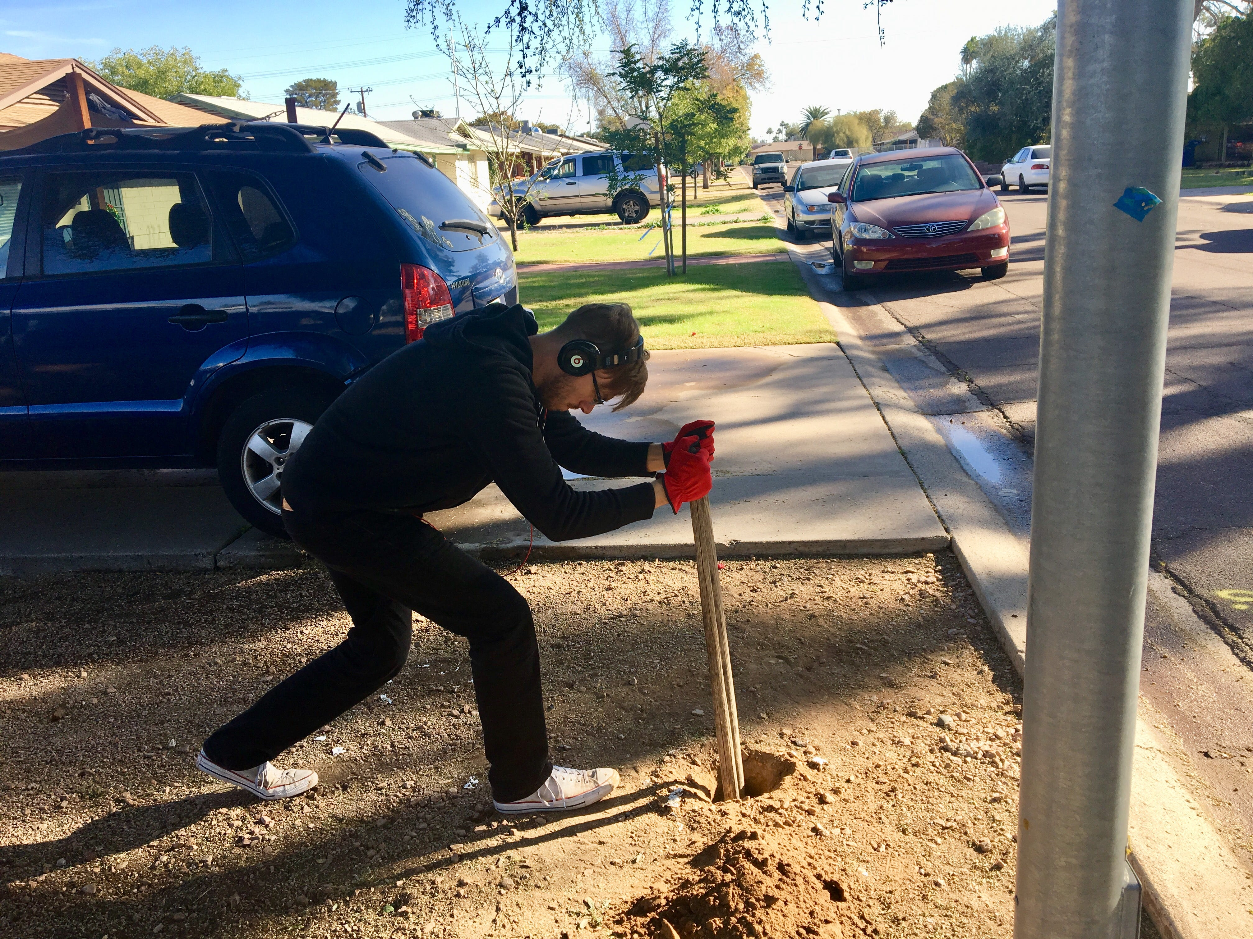 On Christmas Day, Sawyer Bland dug a hole for the post that would hold up a Little Free Library.