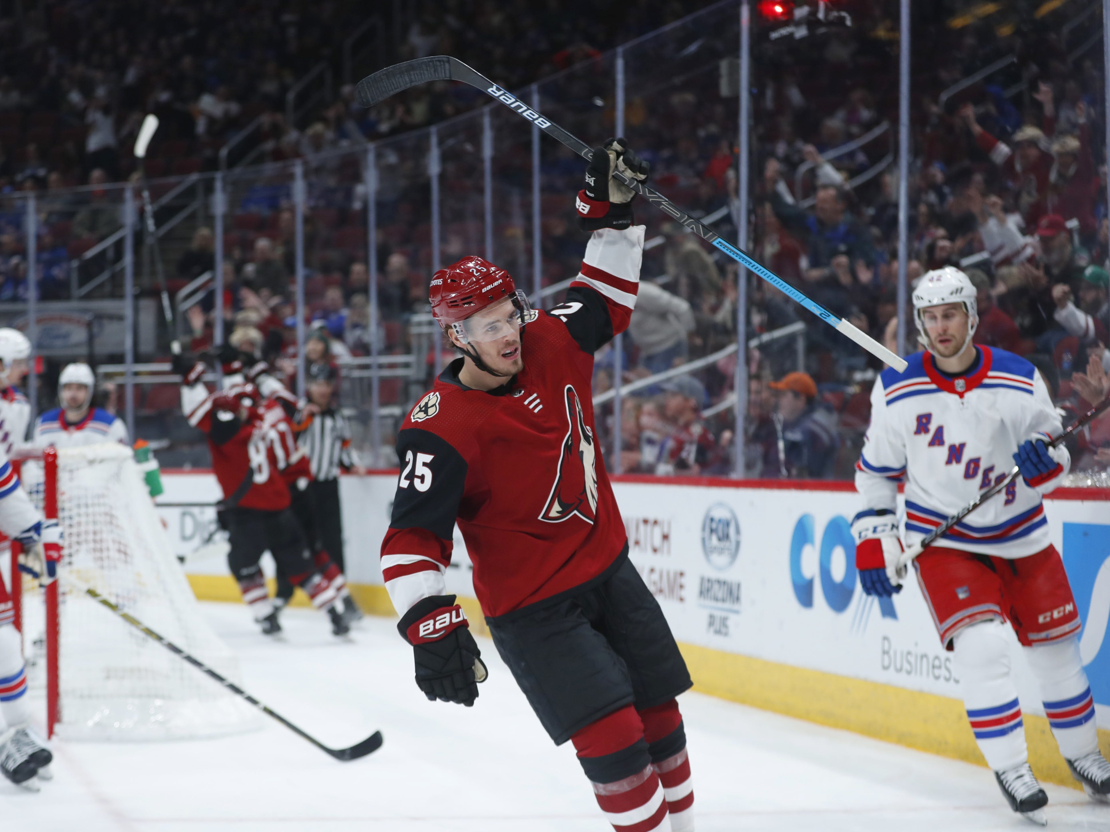 Coyotes' Nick Cousins (25) celebrates a goal against the Rangers during the second period at Gila River Arena in Glendale, Ariz. on January 6, 2019.