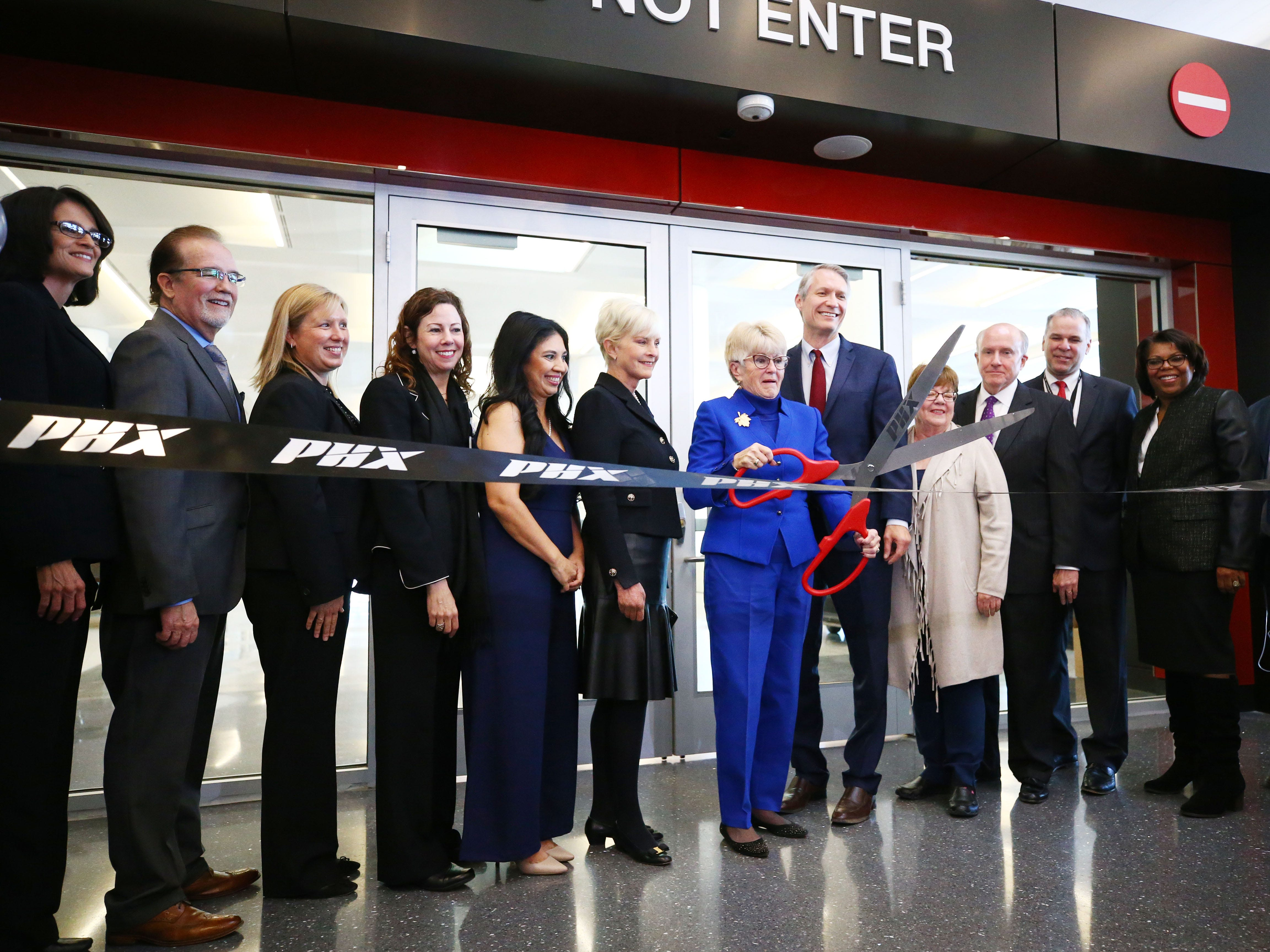 Phoenix Mayor Thelda Williams and Cindy McCain helped open the John S. McCain III Terminal 3, South Concourse on Monday, Jan. 7, 2019 at Phoenix Sky Harbor International Airport.