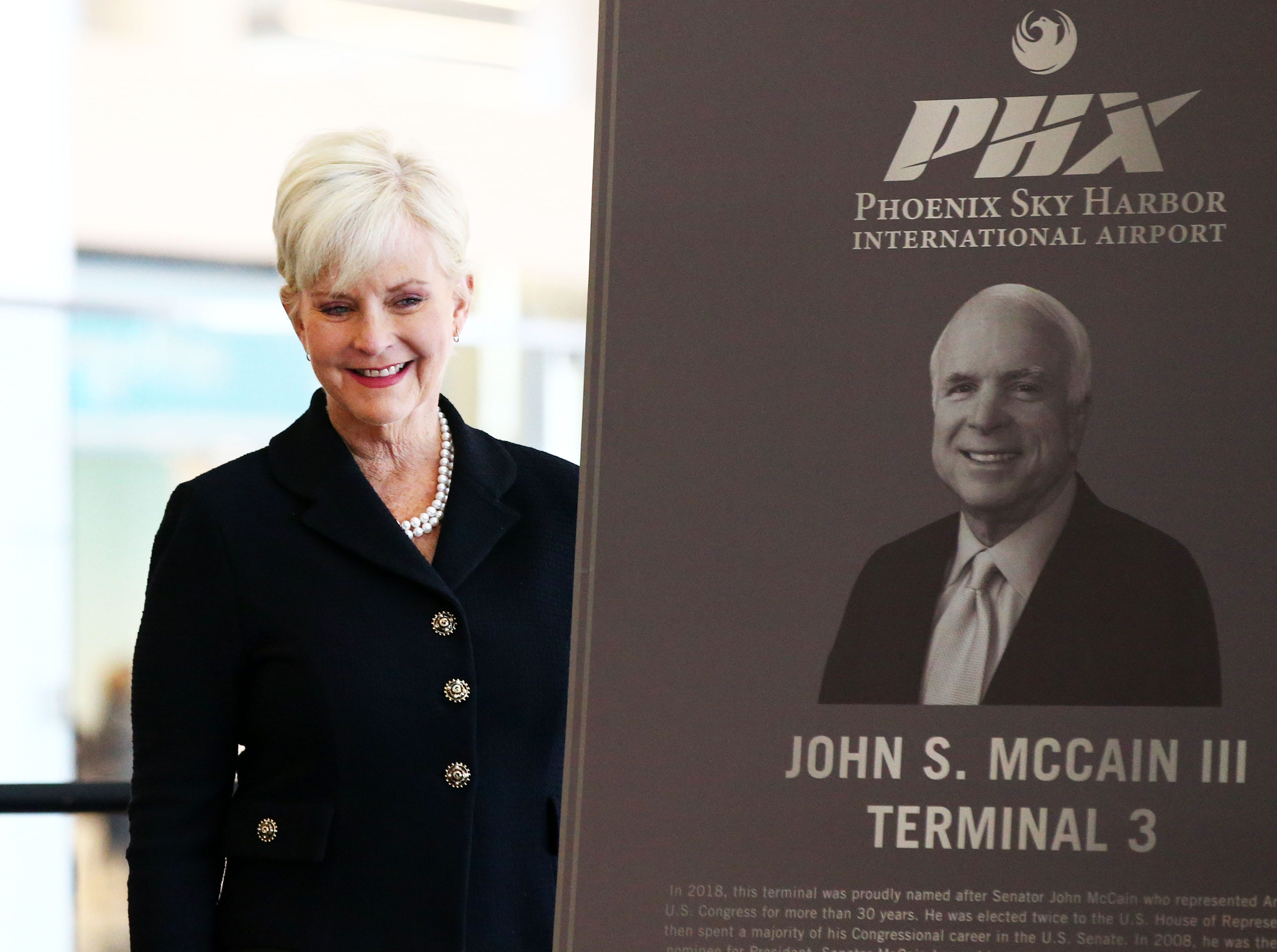 Cindy McCain helped open of the John S. McCain III Terminal 3, South Concourse on Monday, Jan. 7, 2019 at Phoenix Sky Harbor International Airport.