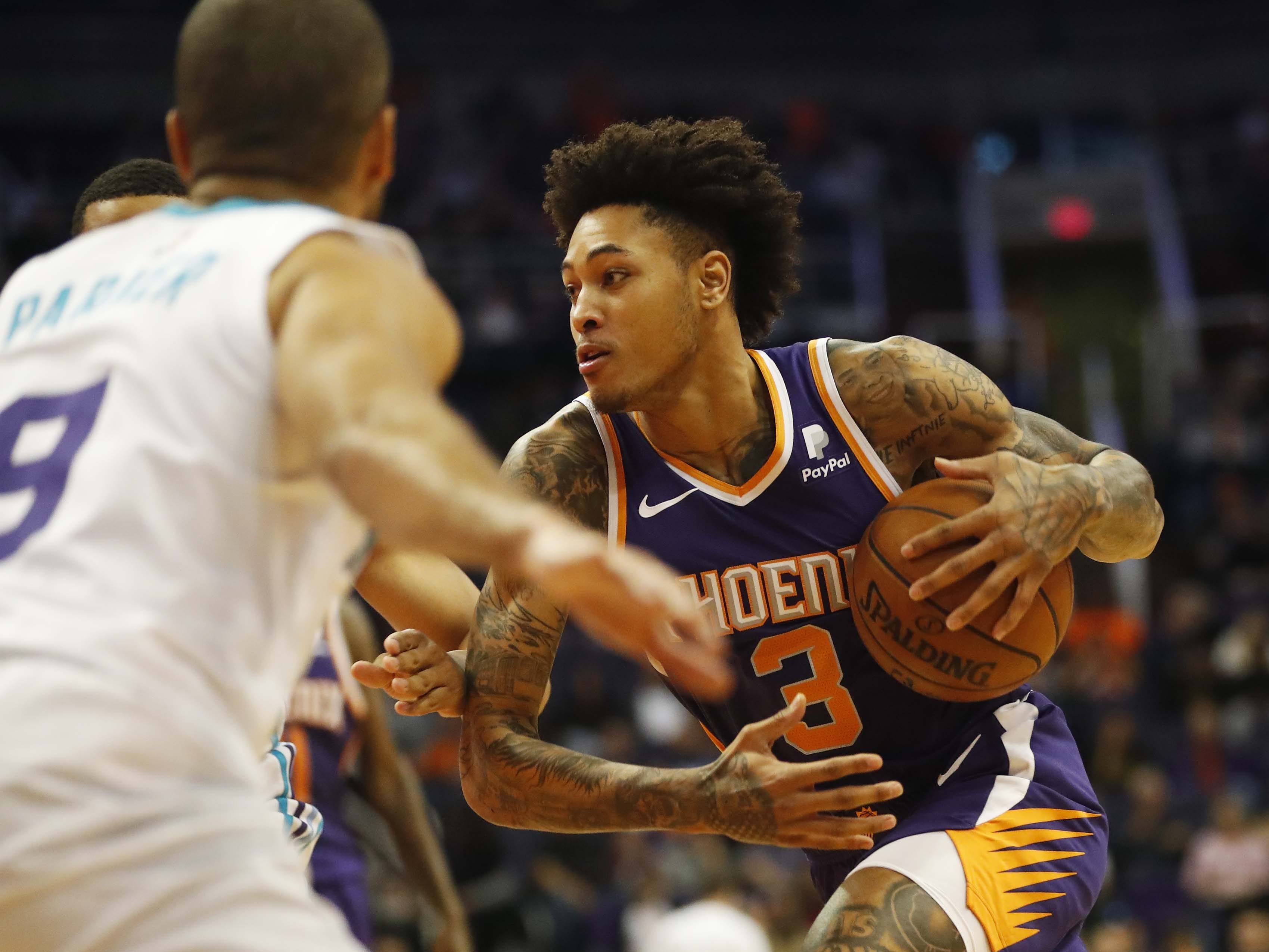 Phoenix Suns forward Kelly Oubre Jr. (3) drives towards the basket against the Charlotte Hornets during the second quarter in Phoenix January 6, 2019.