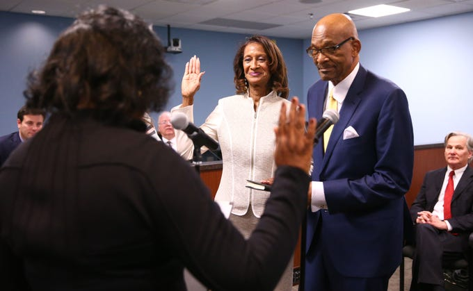 Sandra Kennedy during the swearing-in ceremony on Jan. 7 at Arizona Corporation Commission offices in Phoenix.