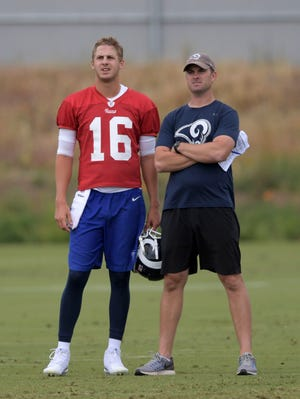 Los Angeles Rams quarterback Jared Goff (16) and quarterbacks coach Zac Taylor during organized team activities at Cal Lutheran University. Mandatory Credit: Kirby Lee-USA TODAY Sports