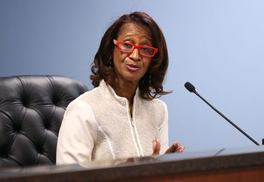 Commissioner Sandra Kennedy makes a statement after the swearing-in ceremony on Jan. 7 at Arizona Corporation Commission offices in Phoenix.