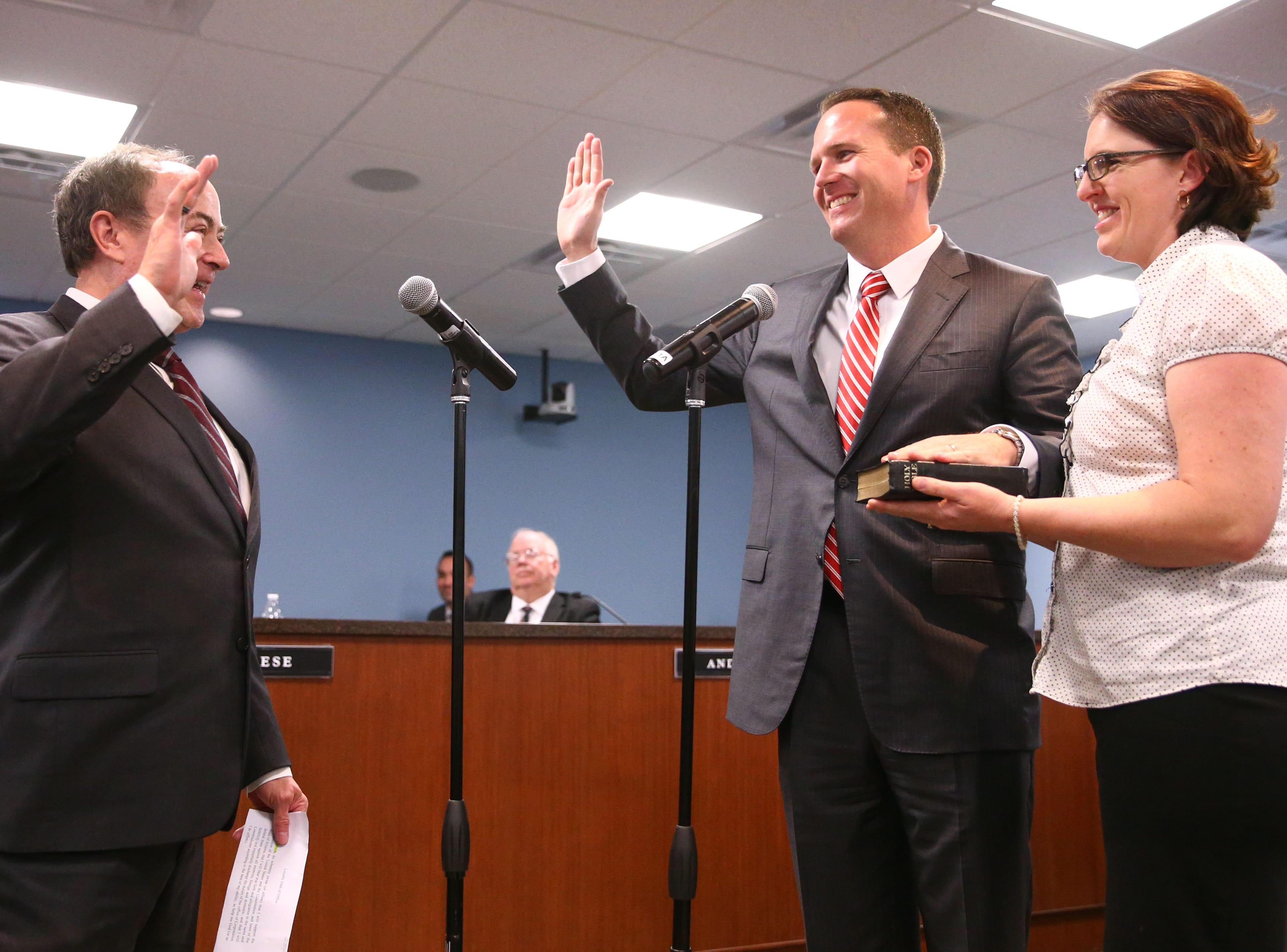 Justin Olson during the swearing-in ceremony on Jan. 7 at Arizona Corporation Commission offices in Phoenix.