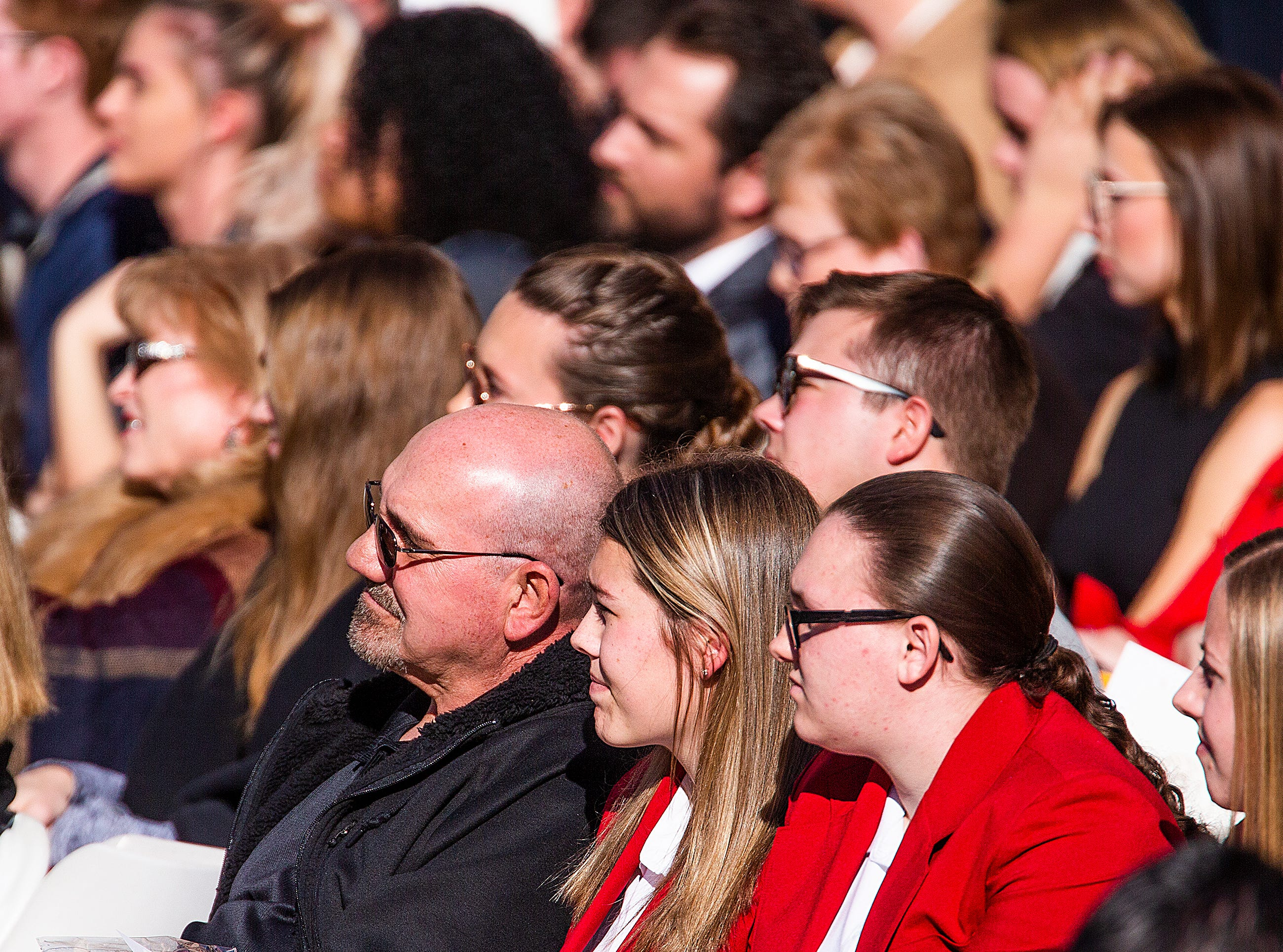 A crowd of several hundred listens to Gov. Doug Ducey after he was sworn in by Arizona Supreme Court Chief Justice Scott Bales at the Arizona Capitol in Phoenix at the 2019 State of Arizona Inauguration ceremony on Jan. 7, 2019.  Gov. Doug Ducey , Secretary of State Katie Hobbs, Attorney General Mark Brnovich, State Treasurer Kimberly Yee, Superintendent of Public Instruction Kathy Hoffman and State Mine Inspector Joe Hart were all sworn in to office during the ceremony.