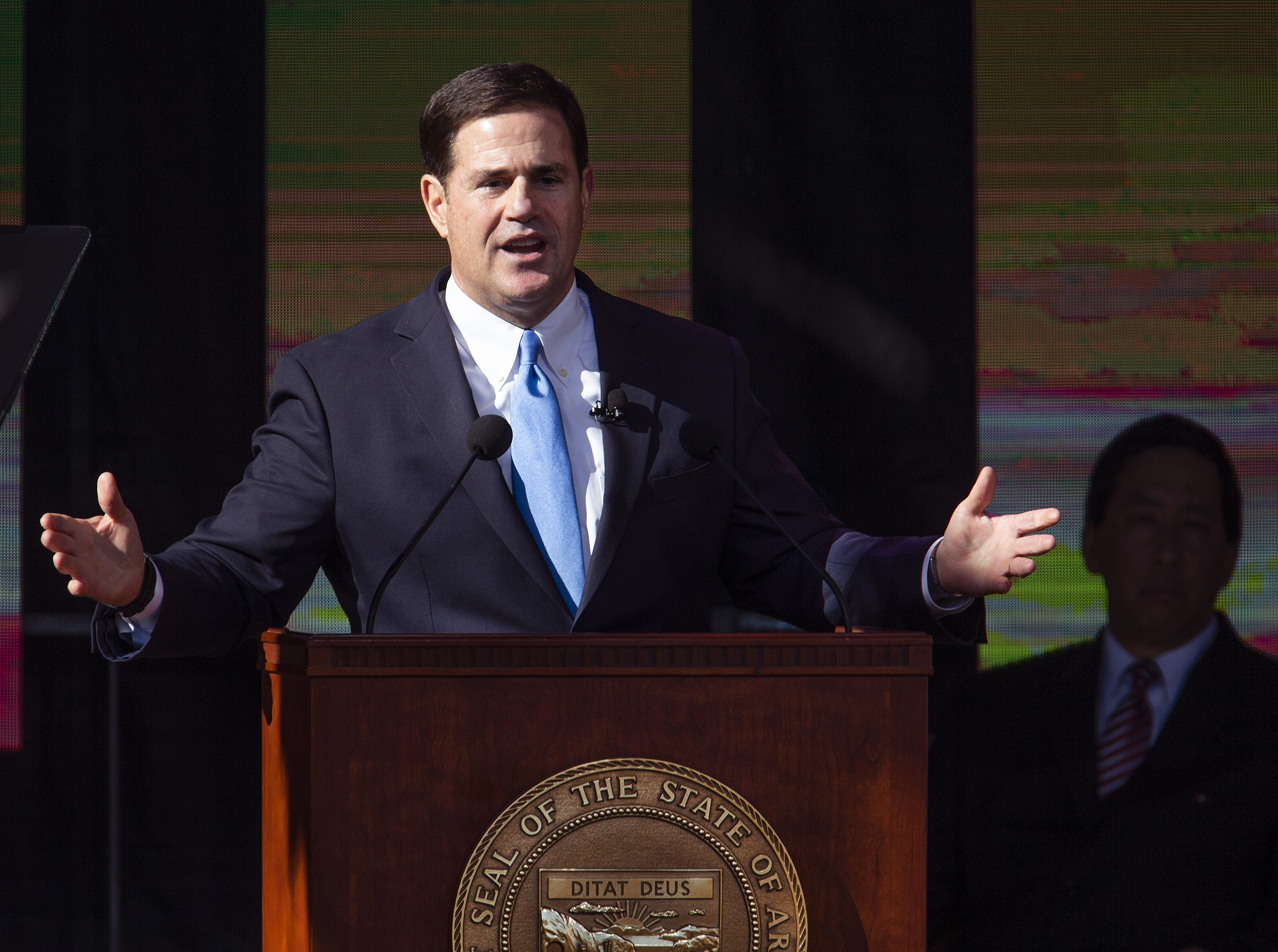 Gov. Doug Ducey speaks after being sworn in by Arizona Supreme Court Chief Justice Scott Bales at the Arizona Capitol in Phoenix at the 2019 State of Arizona Inauguration ceremony on Jan. 7, 2019. Gov. Ducey , Secretary of State Katie Hobbs, Attorney General Mark Brnovich, State Treasurer Kimberly Yee, Superintendent of Public Instruction Kathy Hoffman and State Mine Inspector Joe Hart were all sworn in to office during the ceremony.