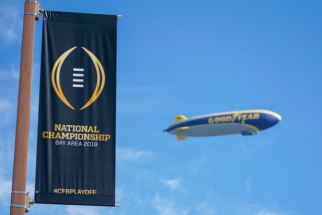 The Goodyear blimp flies above Levi's Stadium on Jan. 4 prior to the College Football Playoff National Championship game between the Alabama Crimson Tide and the Clemson Tigers.