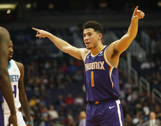 Phoenix Suns guard Devin Booker (1) directs his teammates during the first quarter against the Charlotte Hornets in Phoenix January 6, 2019.