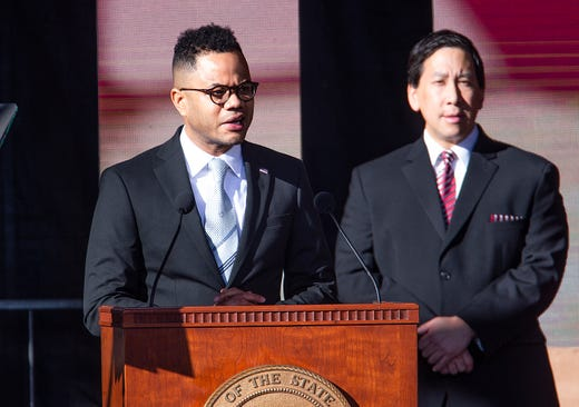 Douglas Mayor Robert Uribe welcomes hundreds to the Arizona Capitol in Phoenix for the 2019 State of Arizona Inauguration ceremony on Jan. 7, 2019.  Gov. Doug Ducey , Secretary of State Katie Hobbs, Attorney General Mark Brnovich, State Treasurer Kimberly Yee, Superintendent of Public Instruction Kathy Hoffman and State Mine Inspector Joe Hart were all sworn in to office during the ceremony.