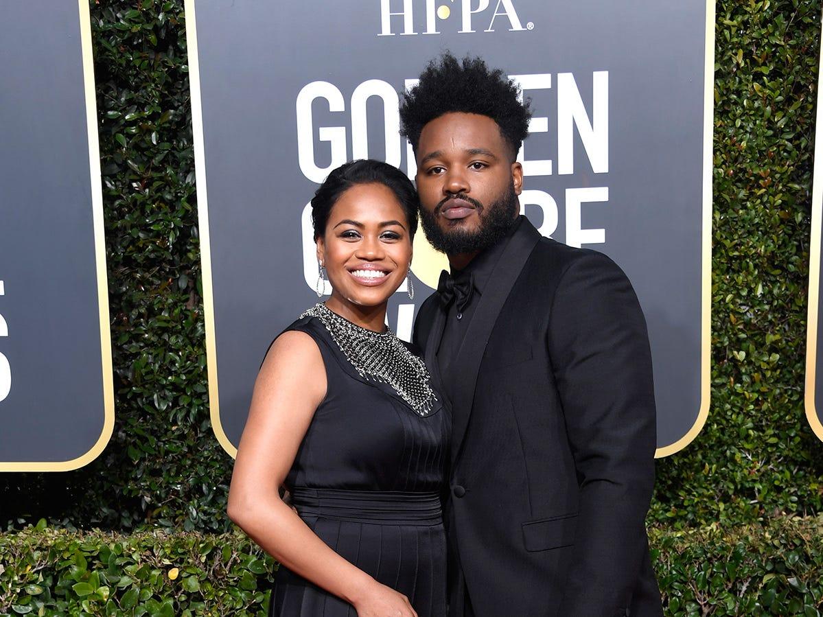 Zinzi Evans (izq) y Ryan Coogler asiste a la 76ª entrega anual de los Globos de Oro en el Beverly Hilton Hotel el 6 de enero de 2019 en Beverly Hills, California.