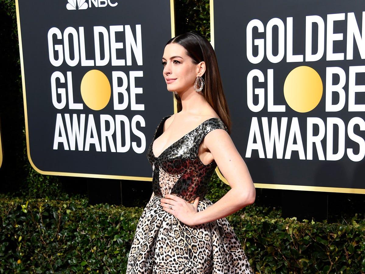 Anne Hathaway asiste a la 76ª entrega anual de los Globos de Oro en el Beverly Hilton Hotel el 6 de enero de 2019 en Beverly Hills, California.