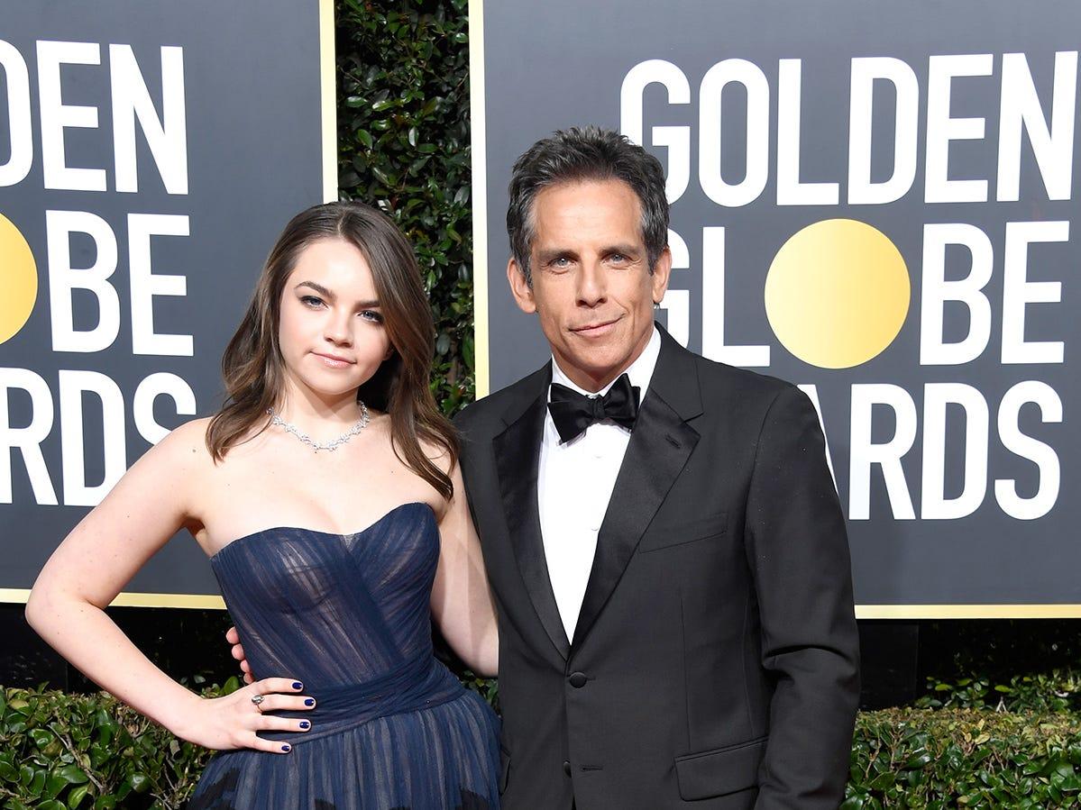 Ella Olivia Stiller (izq) y Ben Stiller asisten a la 76ª entrega anual de los Globos de Oro en el Beverly Hilton Hotel el 6 de enero de 2019 en Beverly Hills, California.