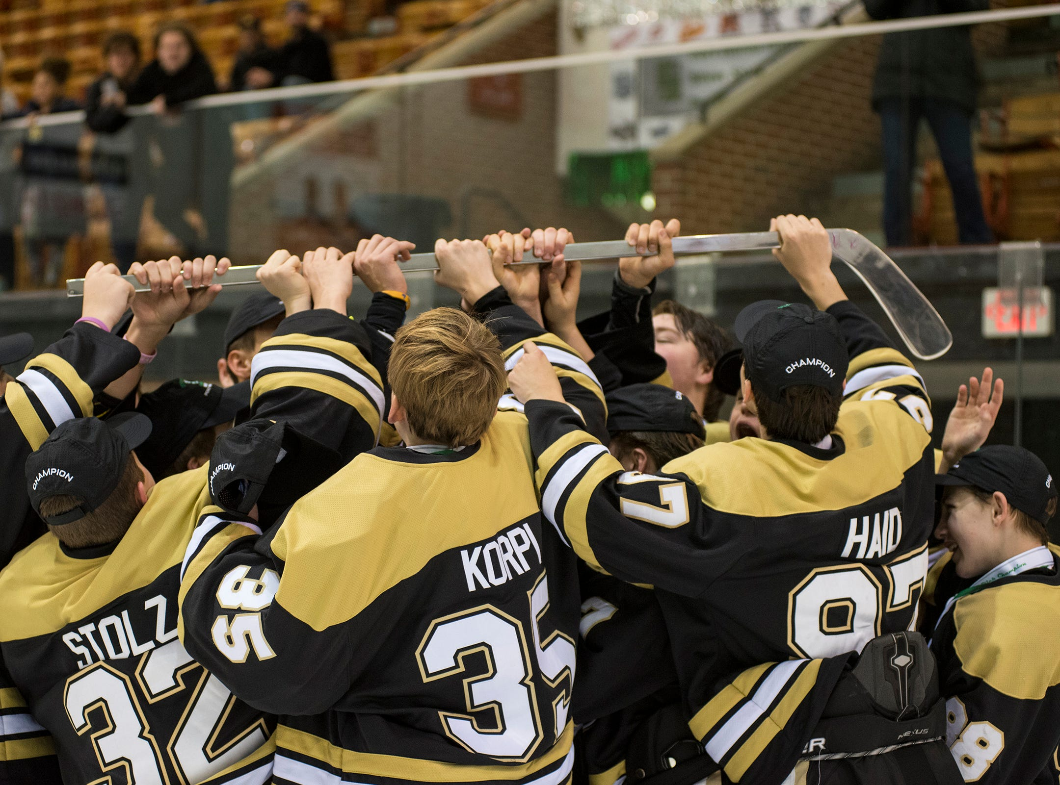 Players from Detroit Honeybaked lift the Silver Stick over their heads in celebration after defeating Buffalo Jr. Sabres 8-2 in  the Silver Stick Finals BAAA Championship match Sunday, Jan. 6, 2019 at McMorran Arena.