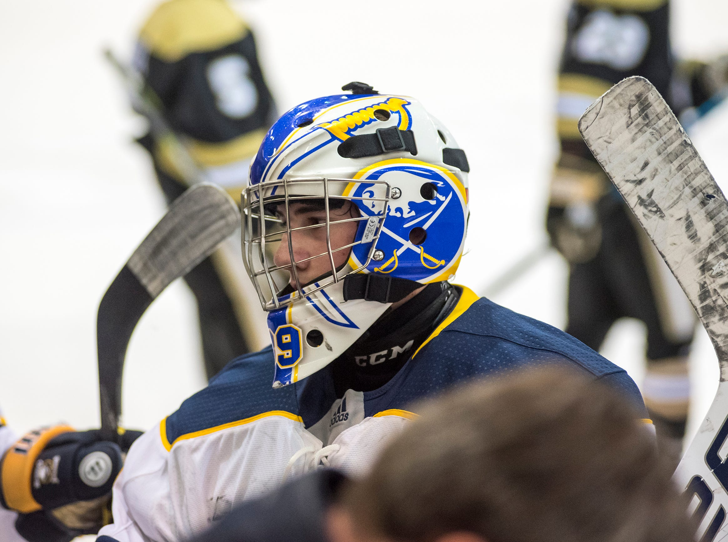 Buffalo Jr. Sabres goalie Joseph Lovullo stands in a huddle during the Silver Stick Finals BAAA Championship match against Detroit Honeybaked Sunday, Jan. 6, 2019 at McMorran Arena.