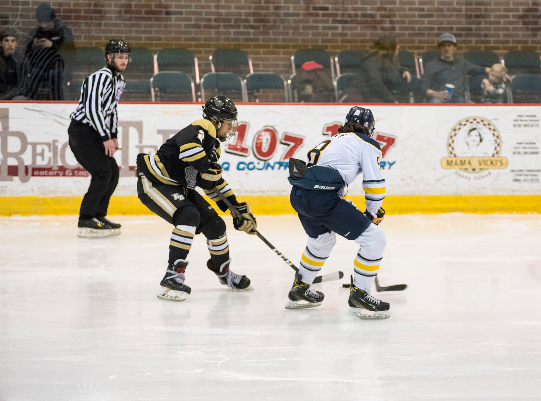 Detroit Honeybaked forward Rutger McGroarty (2) goes to steal the puck from Buffalo Jr. Sabres defenseman Patrick Geary during the Silver Stick Finals BAAA Championship match Sunday, Jan. 6, 2019 at McMorran Arena.