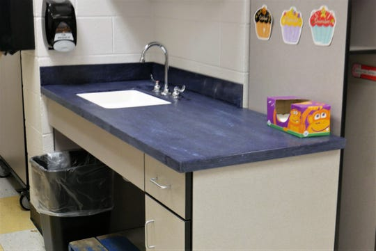 A new sink in a classroom at Millbrook's Elm Drive Elementary School. The school re-opened on Jan. 2, 2019 after being closed for months for mold remediation and renovations.