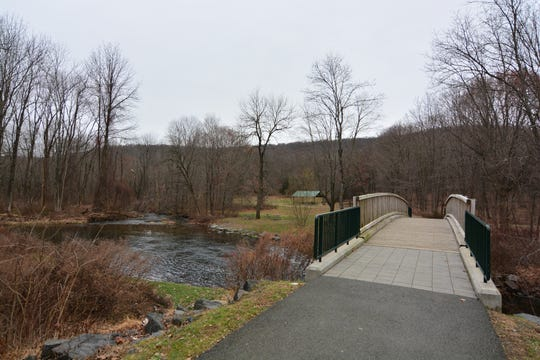 Cross the bridge to enter the park for the start of Kakiat Trail in Suffern, Rockland County.
