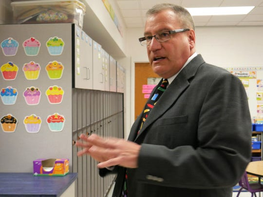Millbrook Superintendent Philip D'Angelo discussing renovations completed at Elm Drive Elementary School during an open house on Jan. 3, 2019.