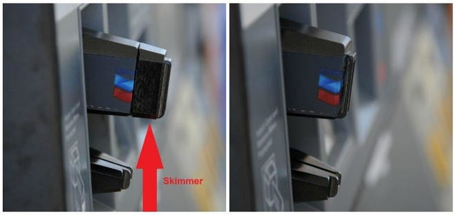 A credit card skimmer at a gas station payment terminal, left, and a payment terminal without a skimmer, right.