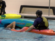 Two Conewago Canoe Club members practice an assisted rescue in the pool at Central York High School on December 27,2018.