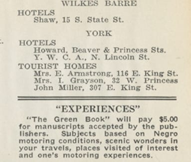 A page from the 1940 Green Book shows York listings.