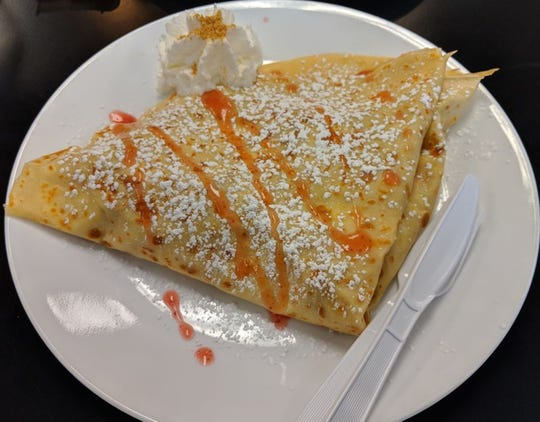 Kaffe Crepe in the Reno Costco center serves several sweet crêpes, like this strawberry cheesecake version.