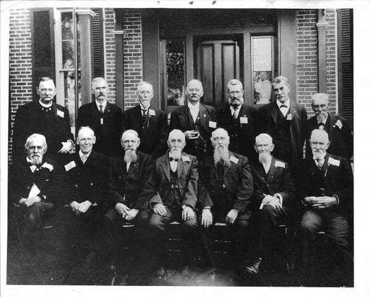 The seventh reunion of Richmond's 69th Indiana regiment veterans was held in Winchester on Aug. 27, 1891. Pictured back row left to right: Joseph Iliff, Alonzo Marshall , Lafayette Larsh, William Hollopeter, Rufus Newman, unknown; front row left to right: Lewis K. Harris, Allen Grave, Allen Coggeshall, George Irwin, and J. Stewart Bolander.