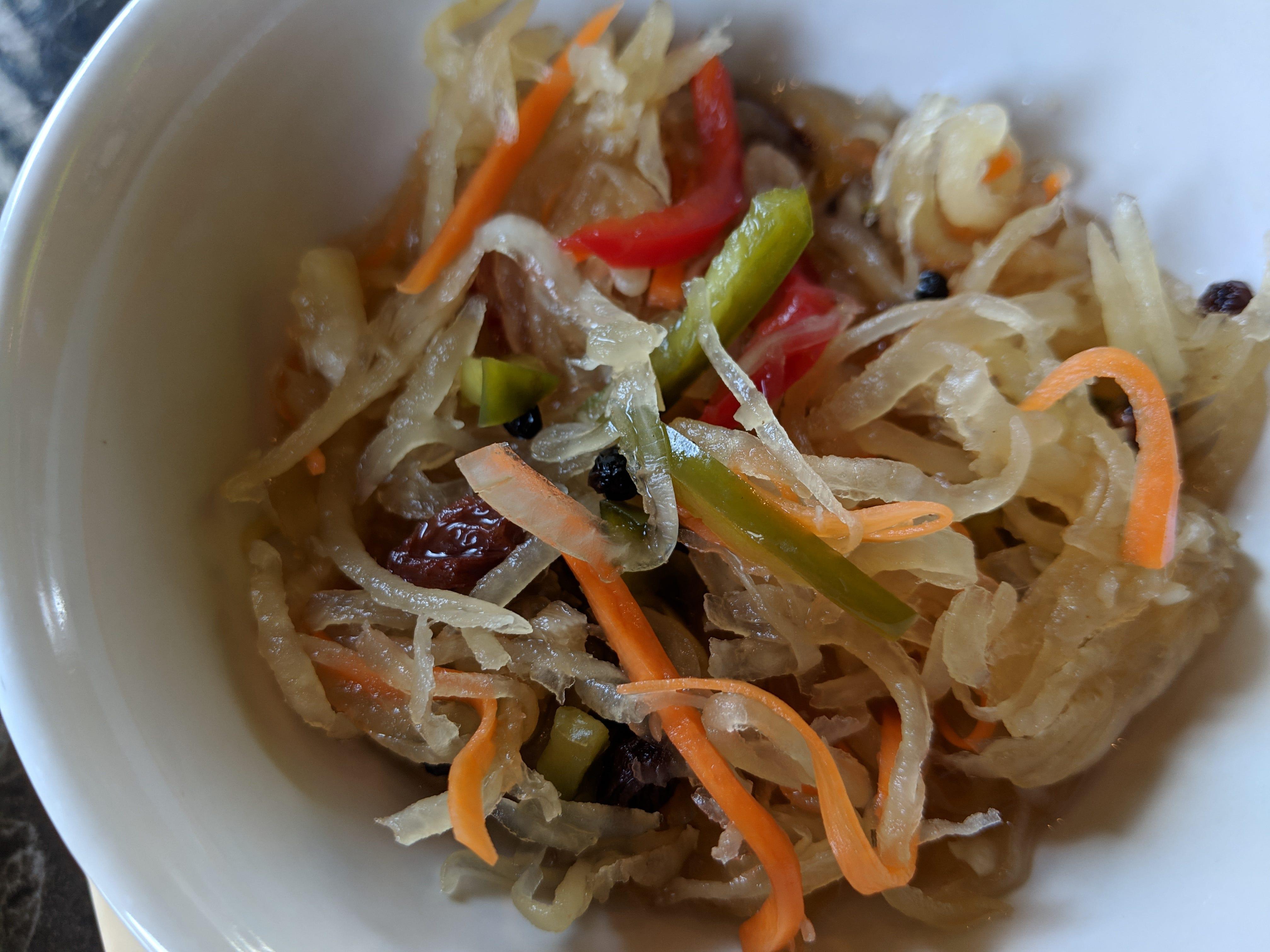 The homemade pickled papaya salad at Casa Merlita.