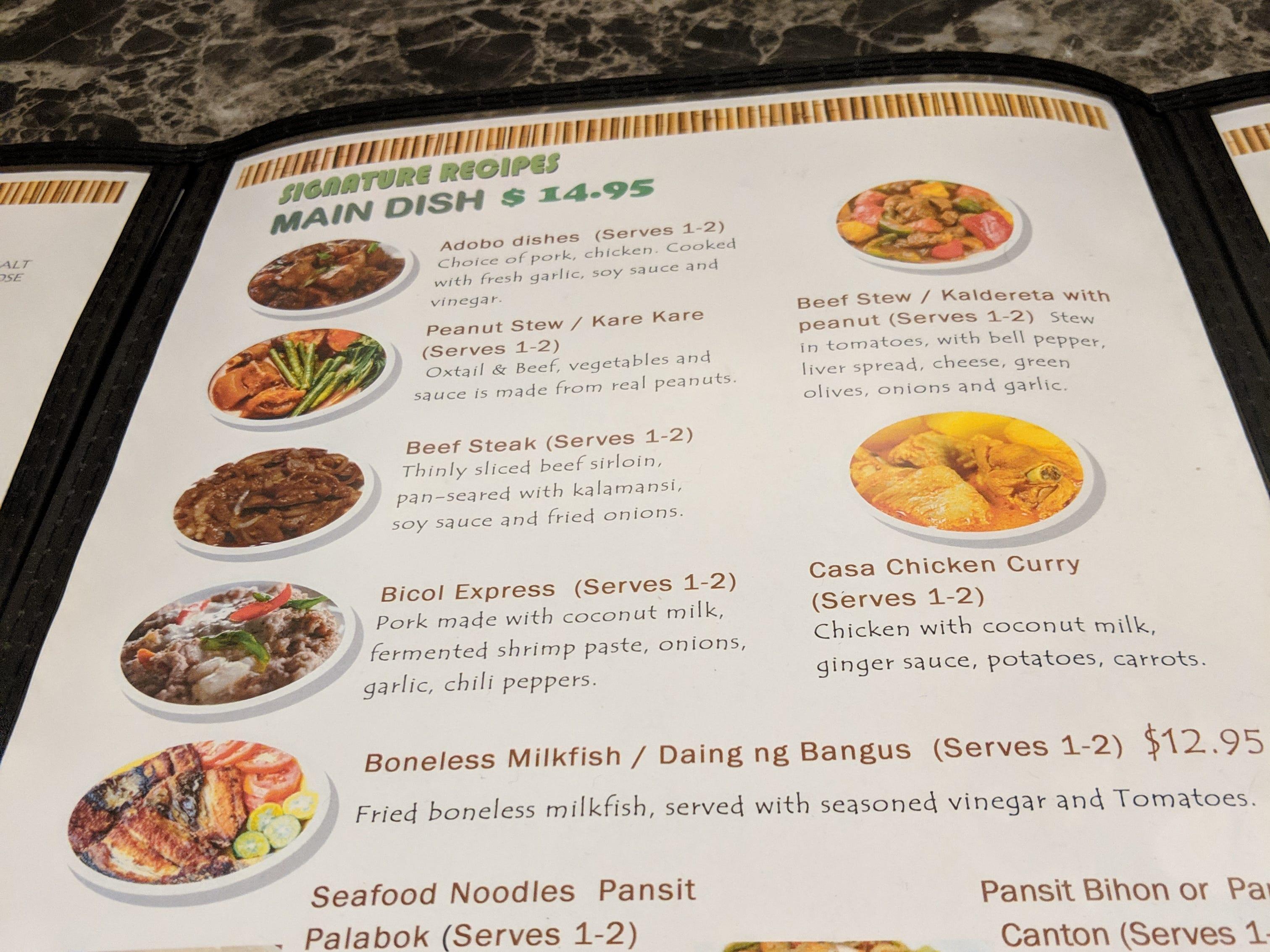 The menu at Casa Merlita in Gates.