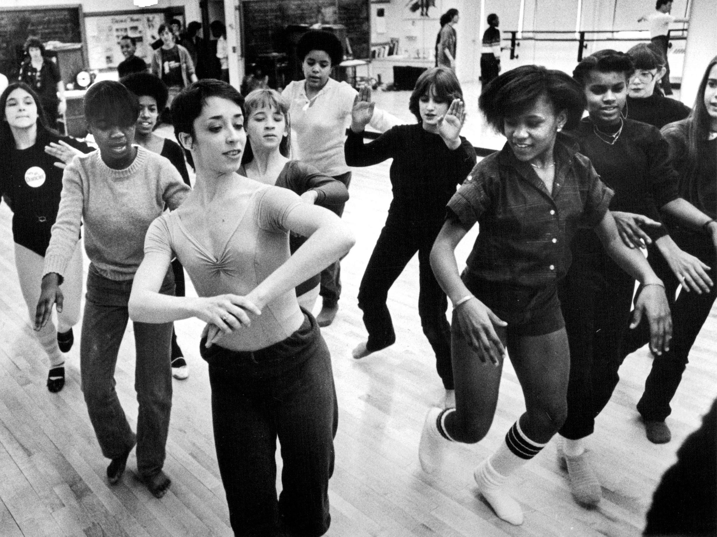 In this 1982 photo, Marianne Claire of Bowyer's and Bruggeman's American Ballet Comedie leads students at a workshop at the School of the Arts at Monroe High School.