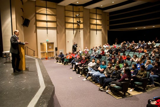Sen. Ron Wyden hosts a Marion County town hall at Woodburn High School on Monday, Jan. 7, 2019.