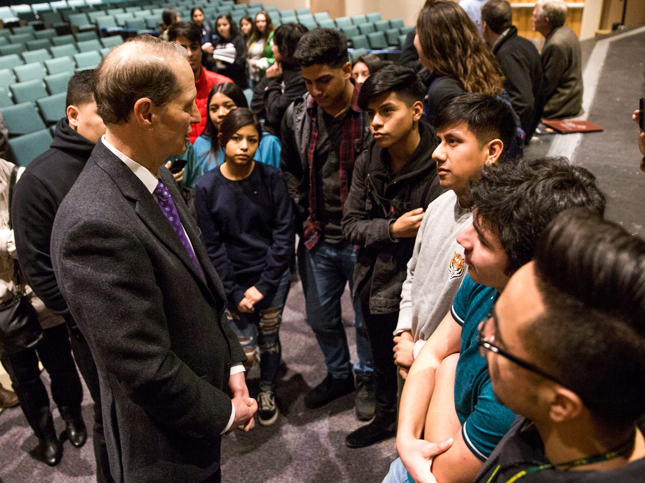 Students talk to Sen. Ron Wyden after a Marion County town hall at Woodburn High School on Monday, Jan. 7, 2019.