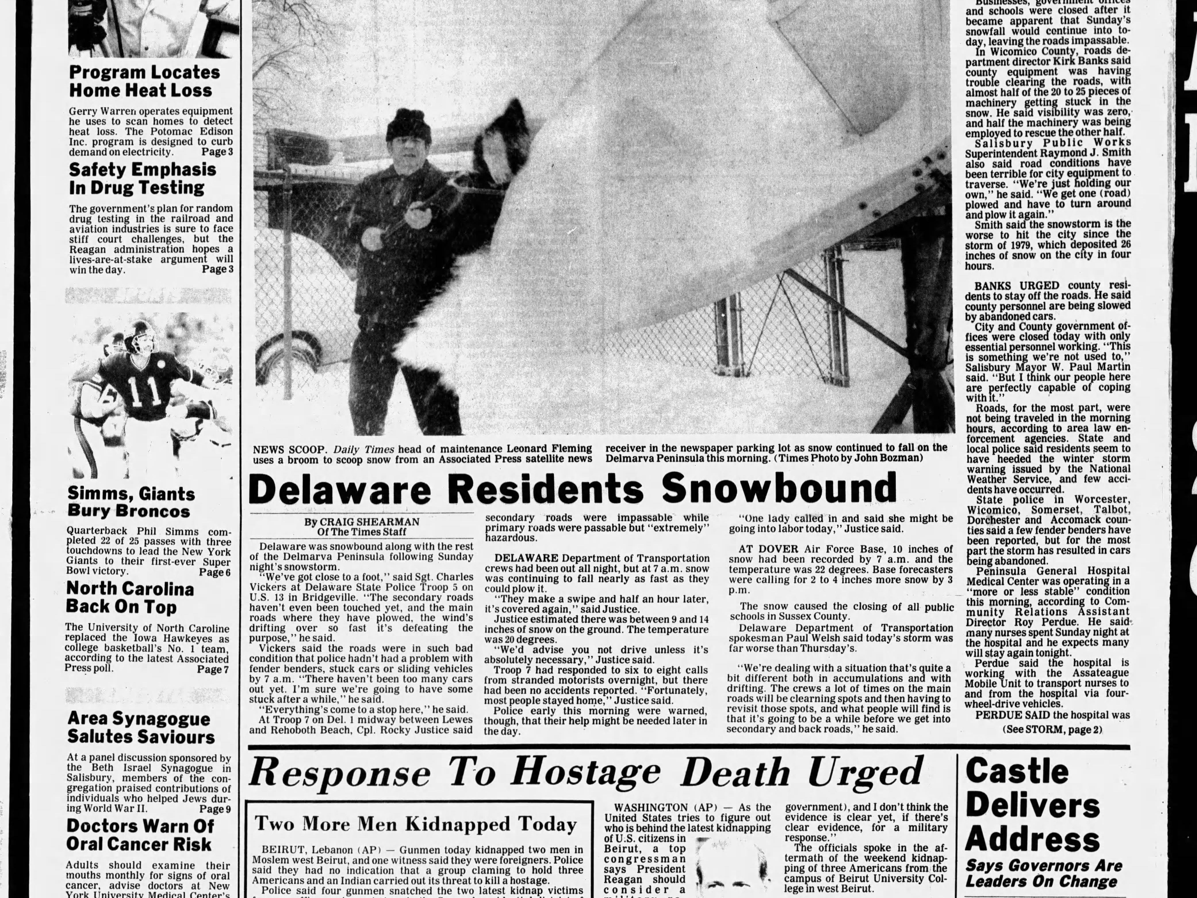 "On Jan 26, 1987 Salisbury received its second highest record setting snow fall with 17.1"" of snow."