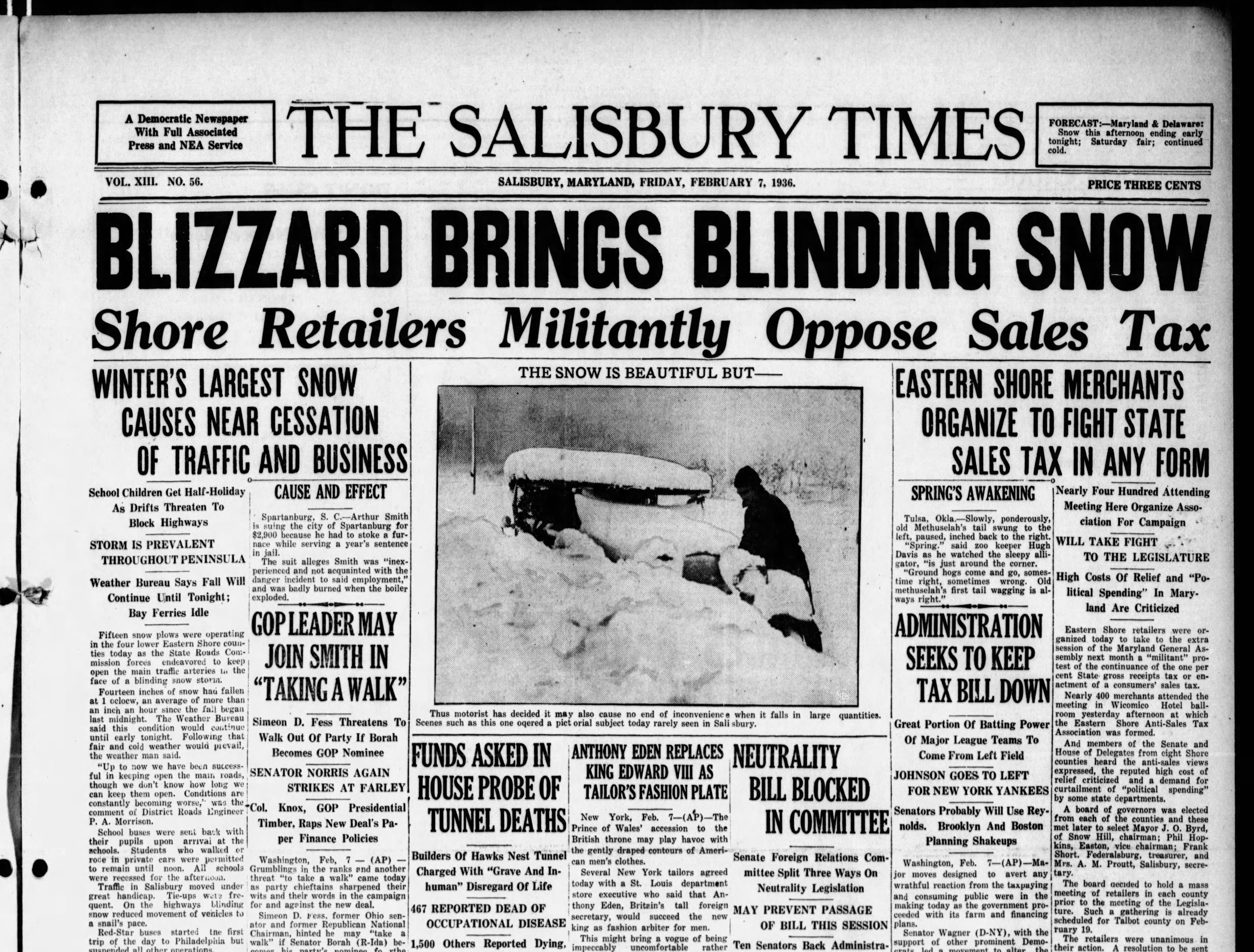 "On Feb 7, 1936 Salisbury had 15"" of snowfall holding one of the top records for a ""Daily"" snowfall total."