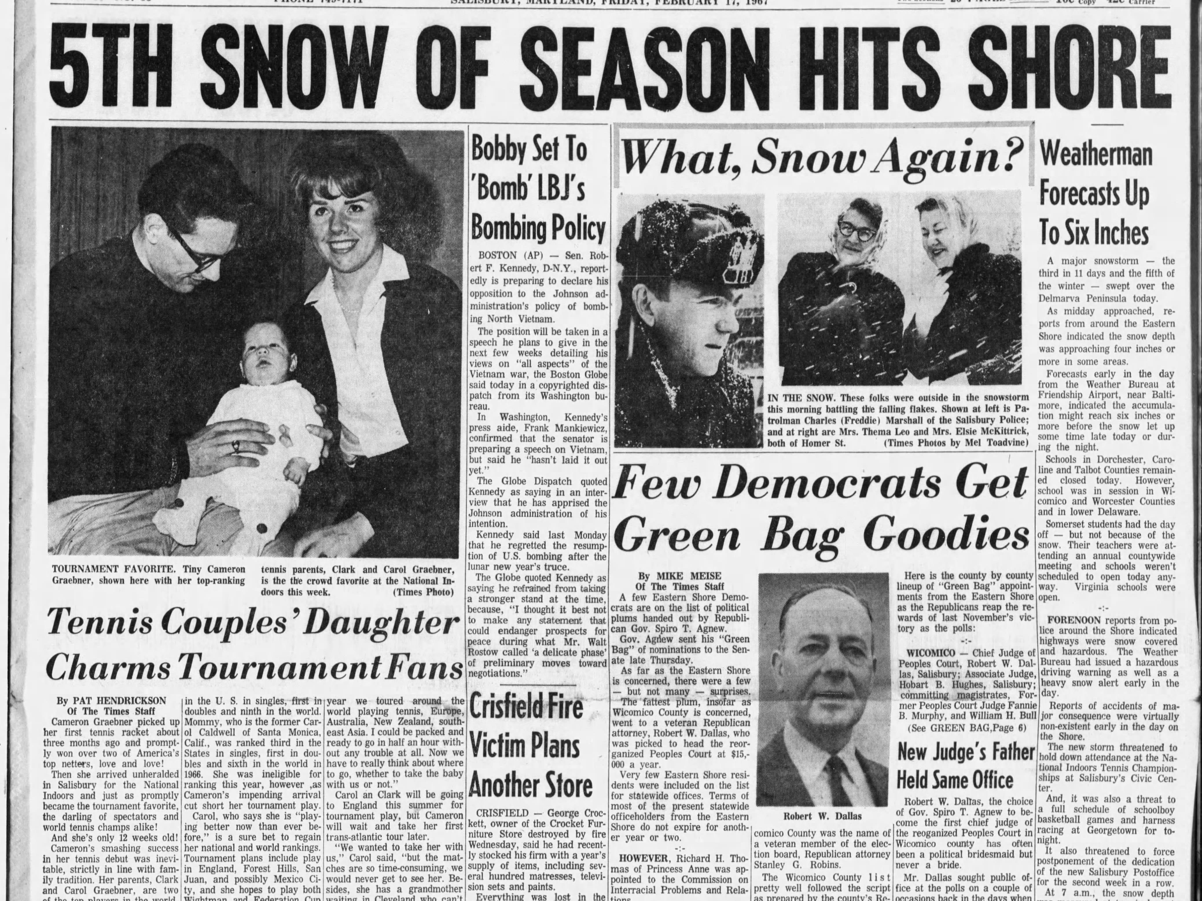 "On Feb 17-18, 1967 Salisbury received 11"" of snowfall."