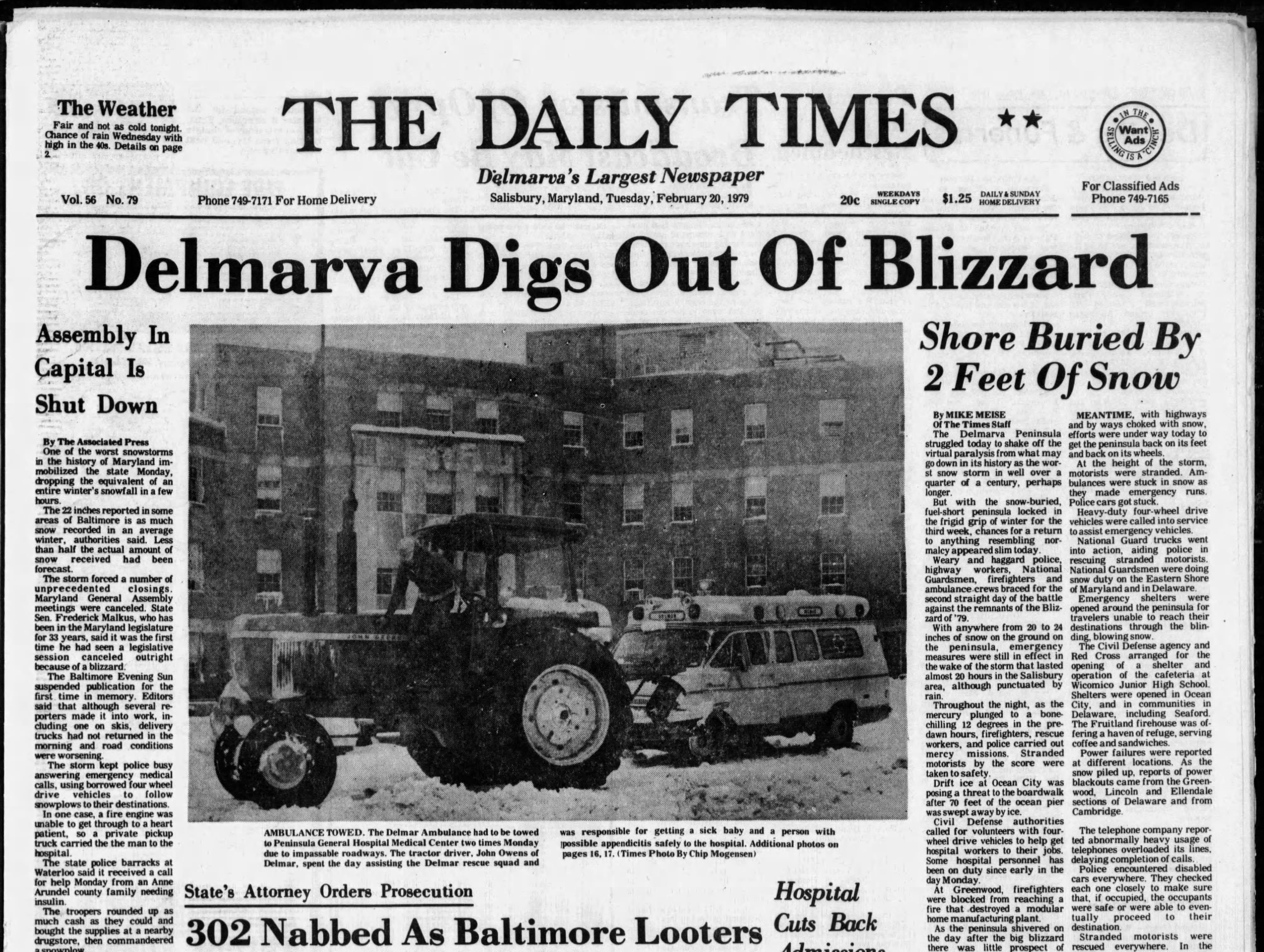"Salisbury received 10"" of snowfall on Feb. 20, 1979."