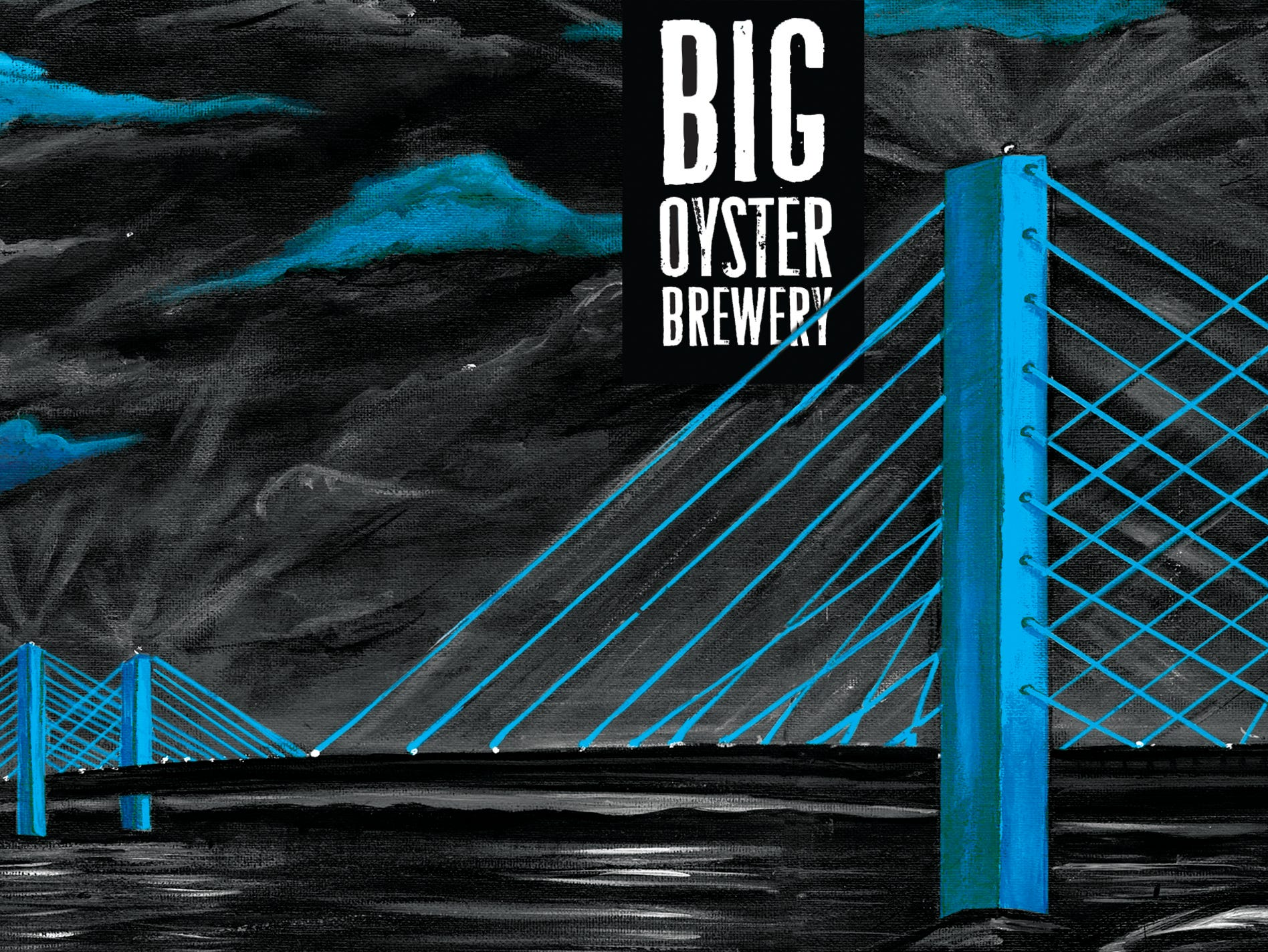 The acrylic painting of the Indian River Inlet bridge for the Big Oyster Brewery's Noir et Bleu tripel. Artwork by Laura Erickson.