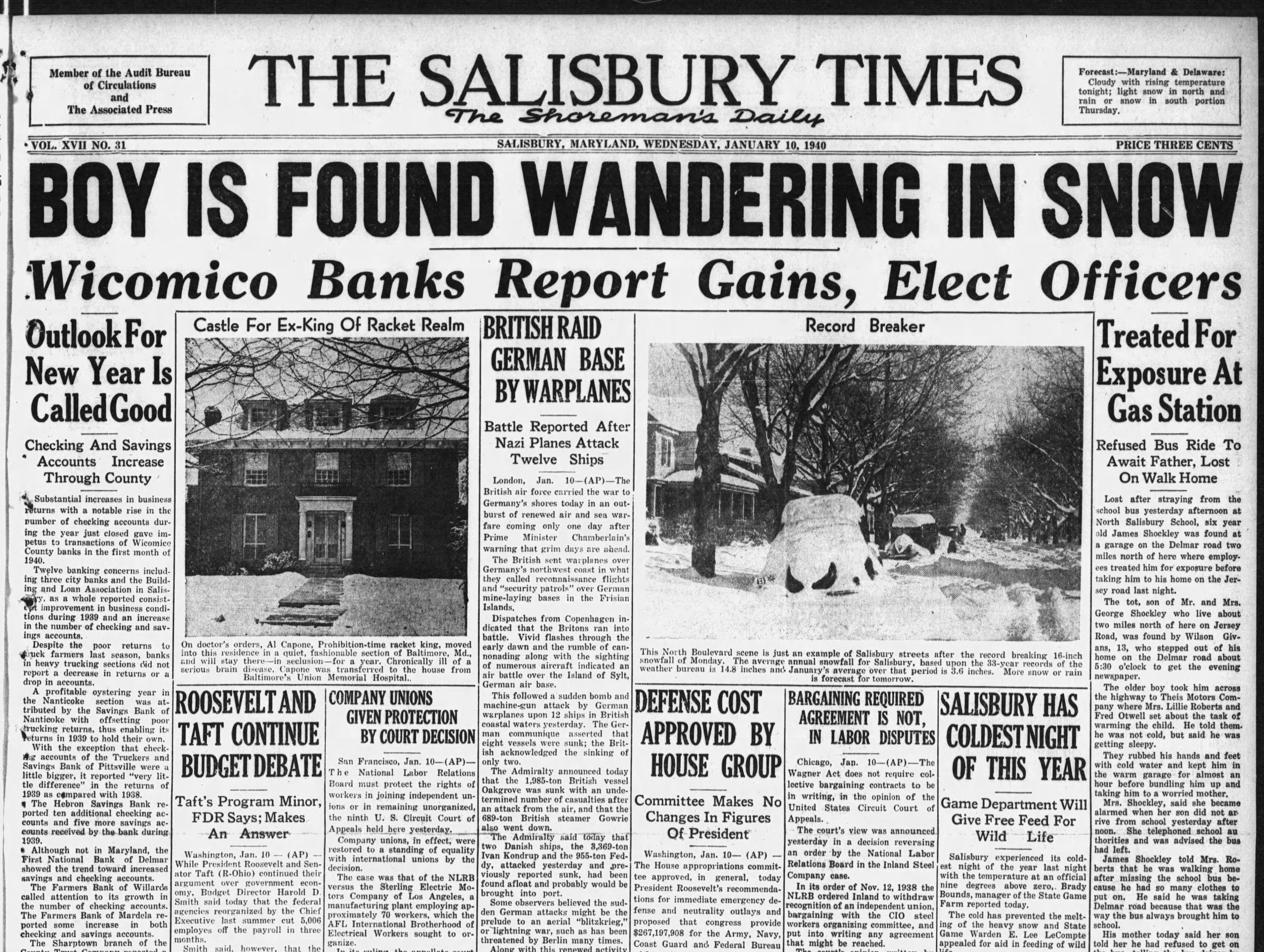 "Salisbury received 16"" of snowfall on Jan 8, 1940."