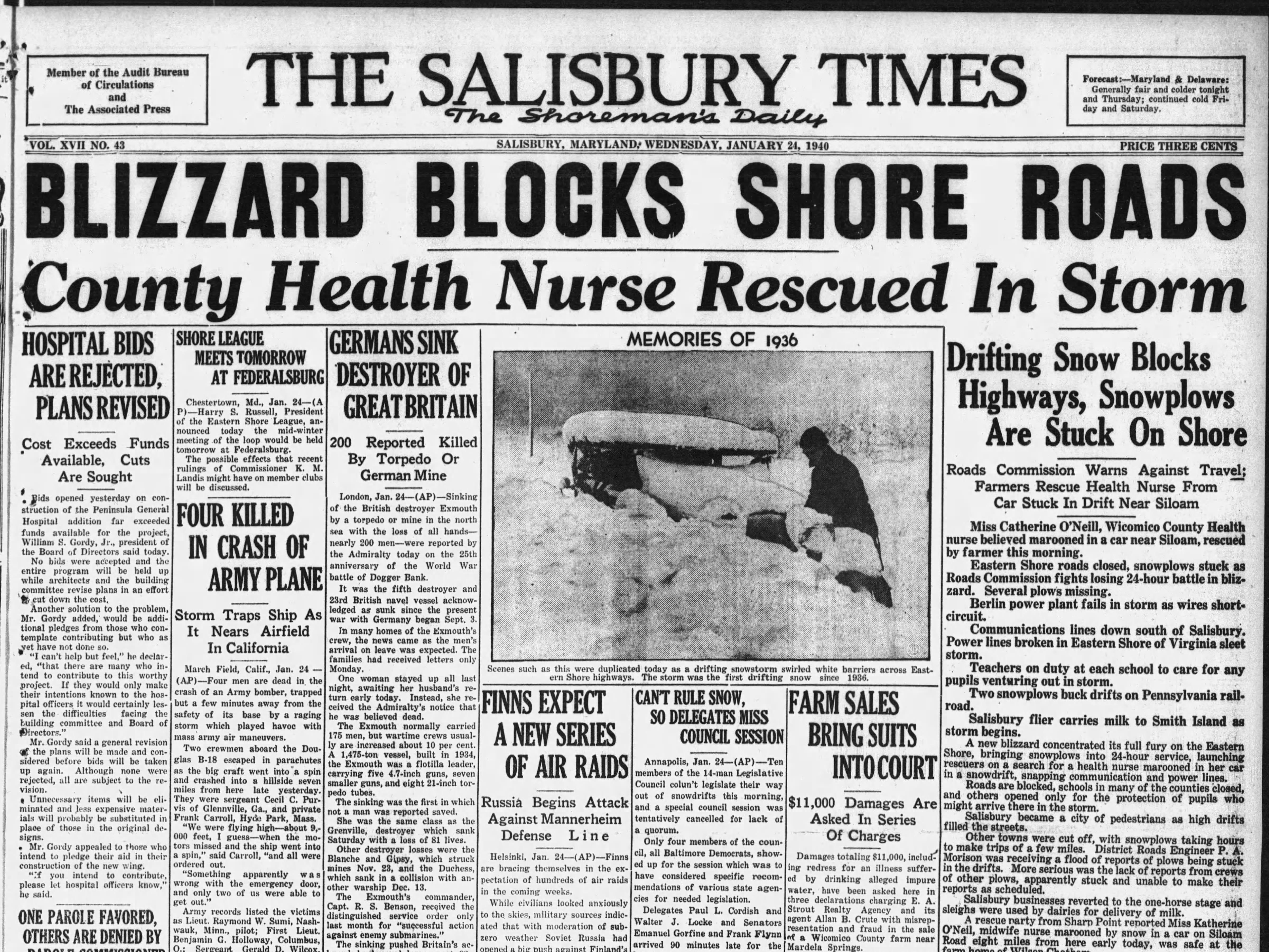 "On Jan. 23-24, 1940 Salisbury saw 15"""