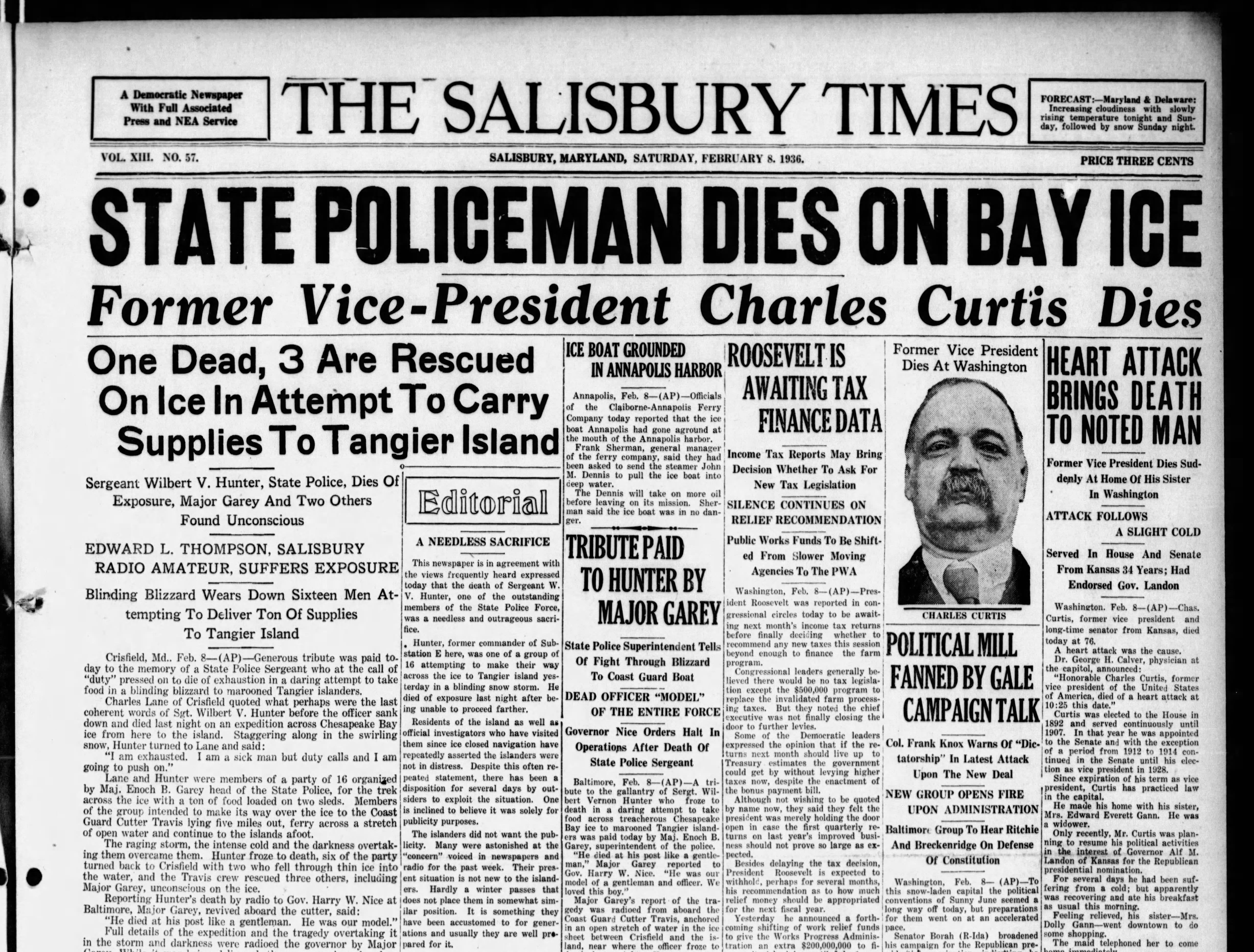 "On Feb 8, 1936, Salisbury received 15"" of snowfall."