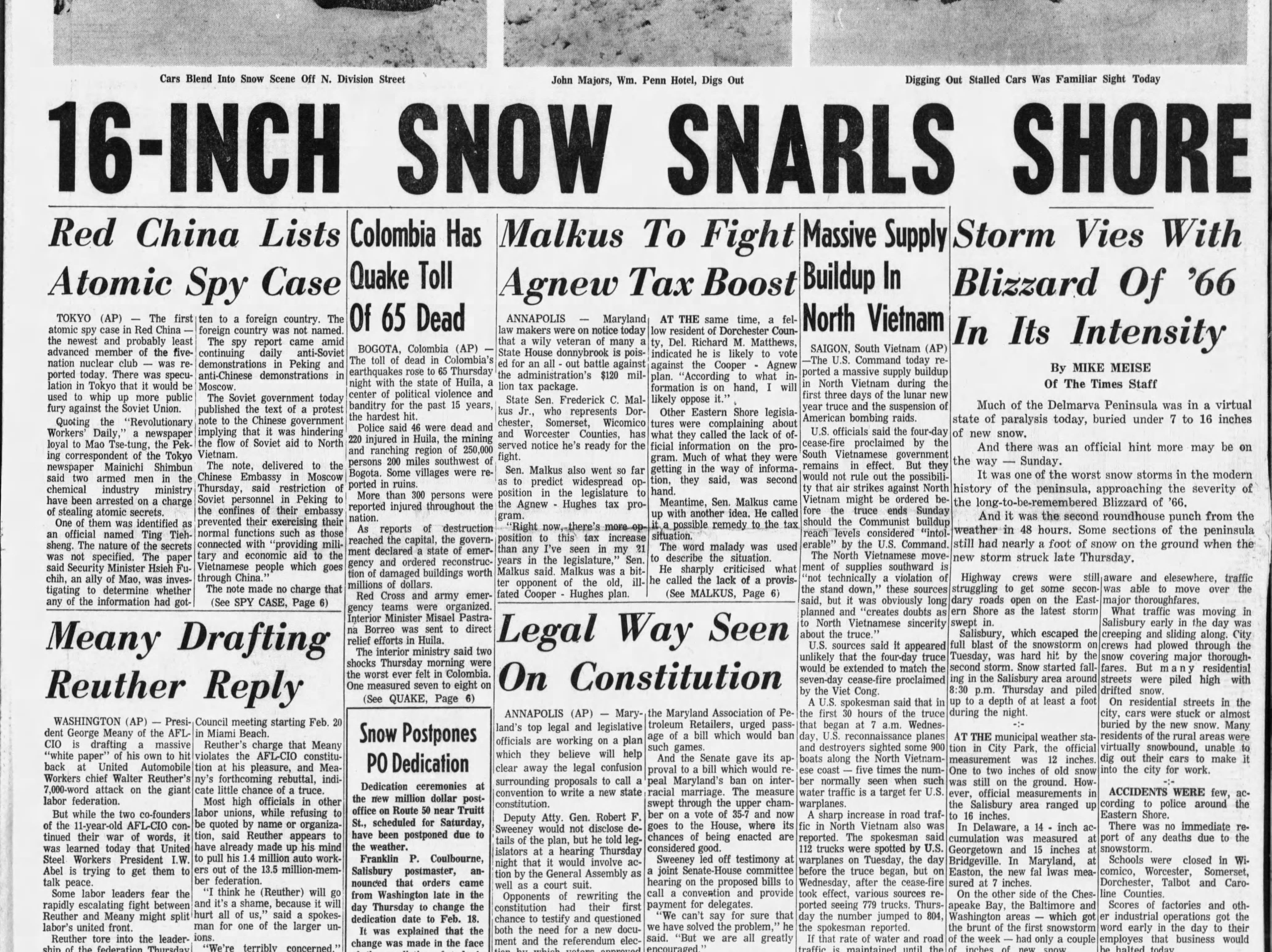 On Feb 9-10, 1967 the Salisbury area saw 11 inches of snowfall.
