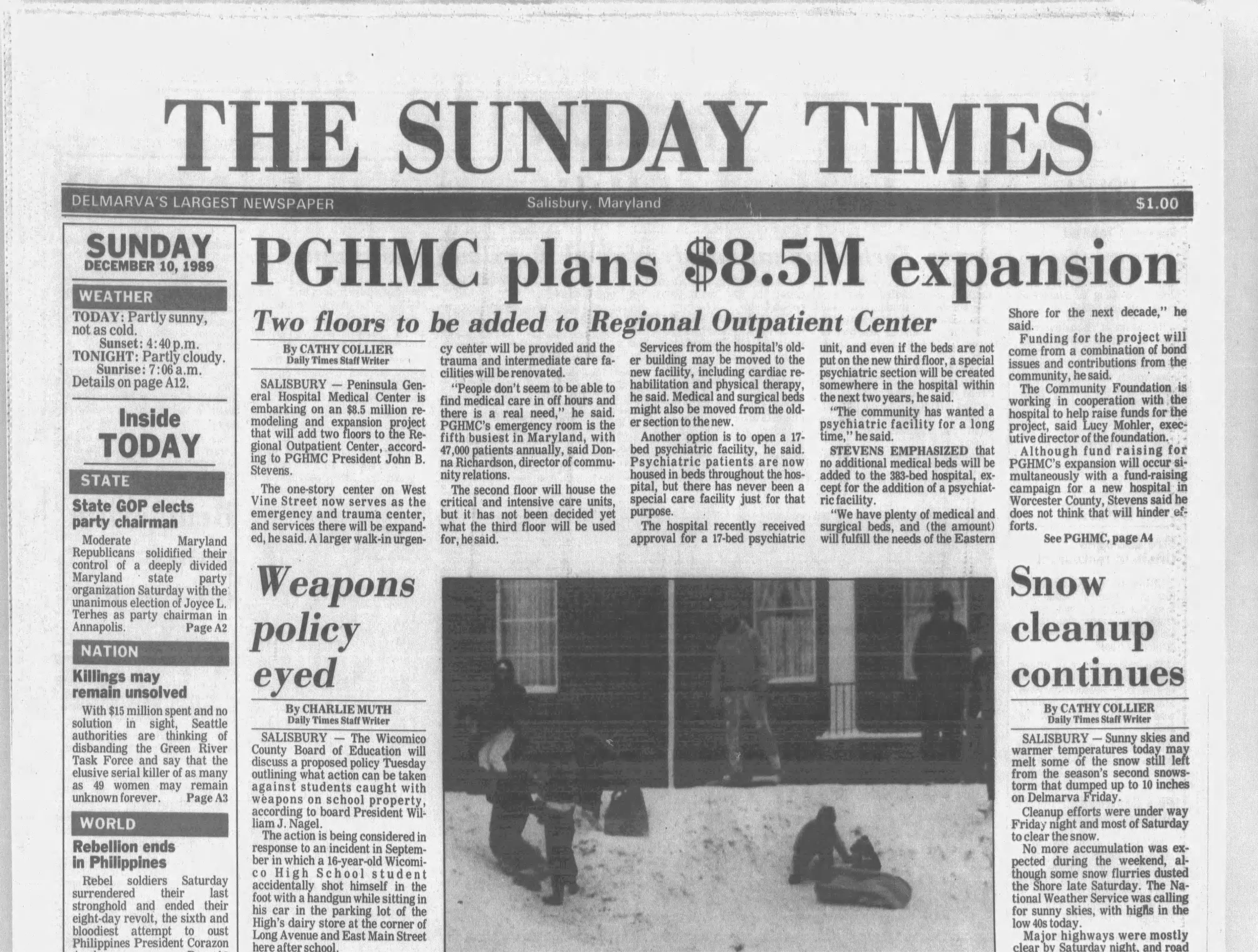 "On Dec 10, 1989, Salisbury received 10"" of snow."