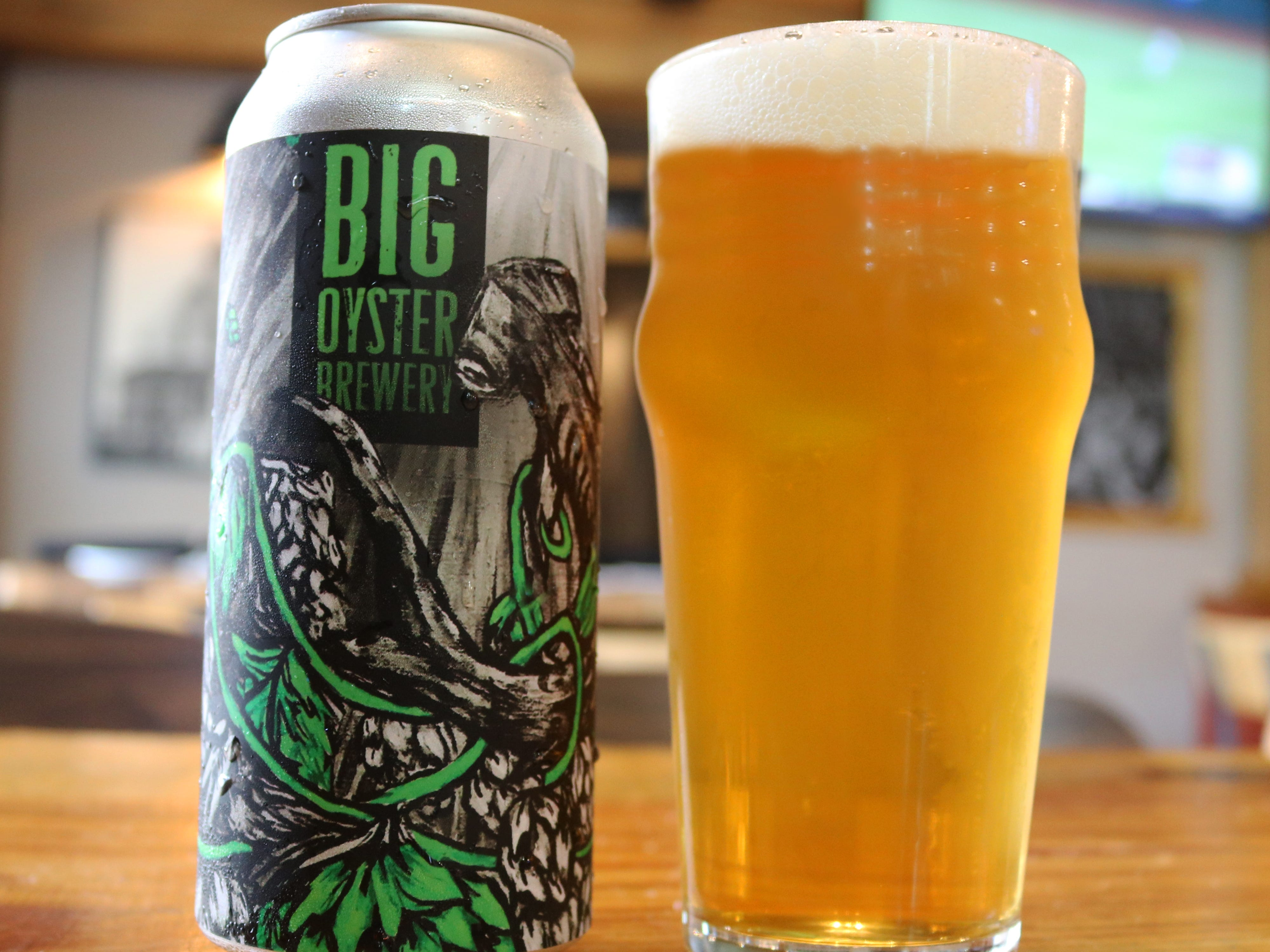 Big Oyster's Hammerhead IPA with a design by Laura Erickson.