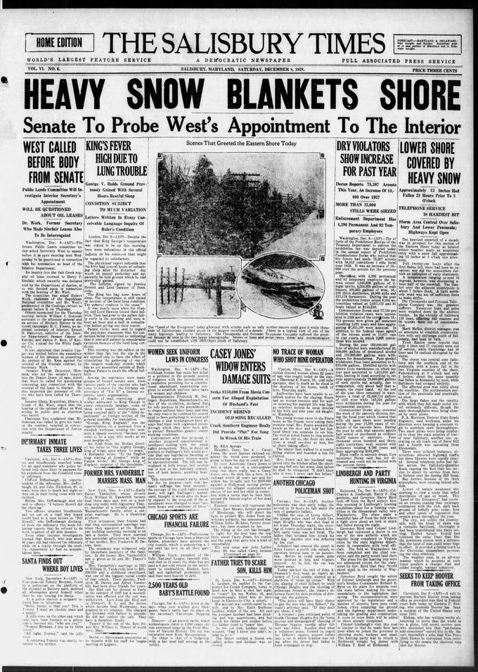 "Dec. 8, 1928 Salisbury received 11"" of snowfall."