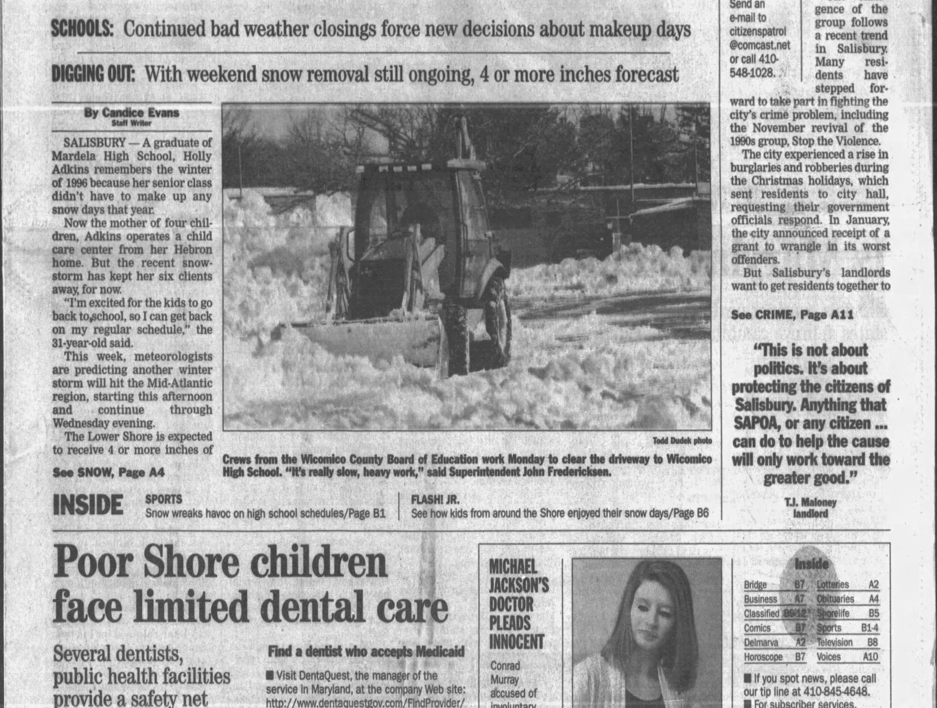 "on Feb 9, 2010 Salisbury received 13""."
