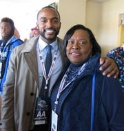 Shreveport Mayor Adrian Perkins and Caddo School Board Member Dottie Bell at Independence Bowl.