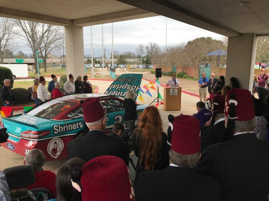 NASCAR driver David Ragan speaks at Shreveport's Shriners Hospital on Monday.