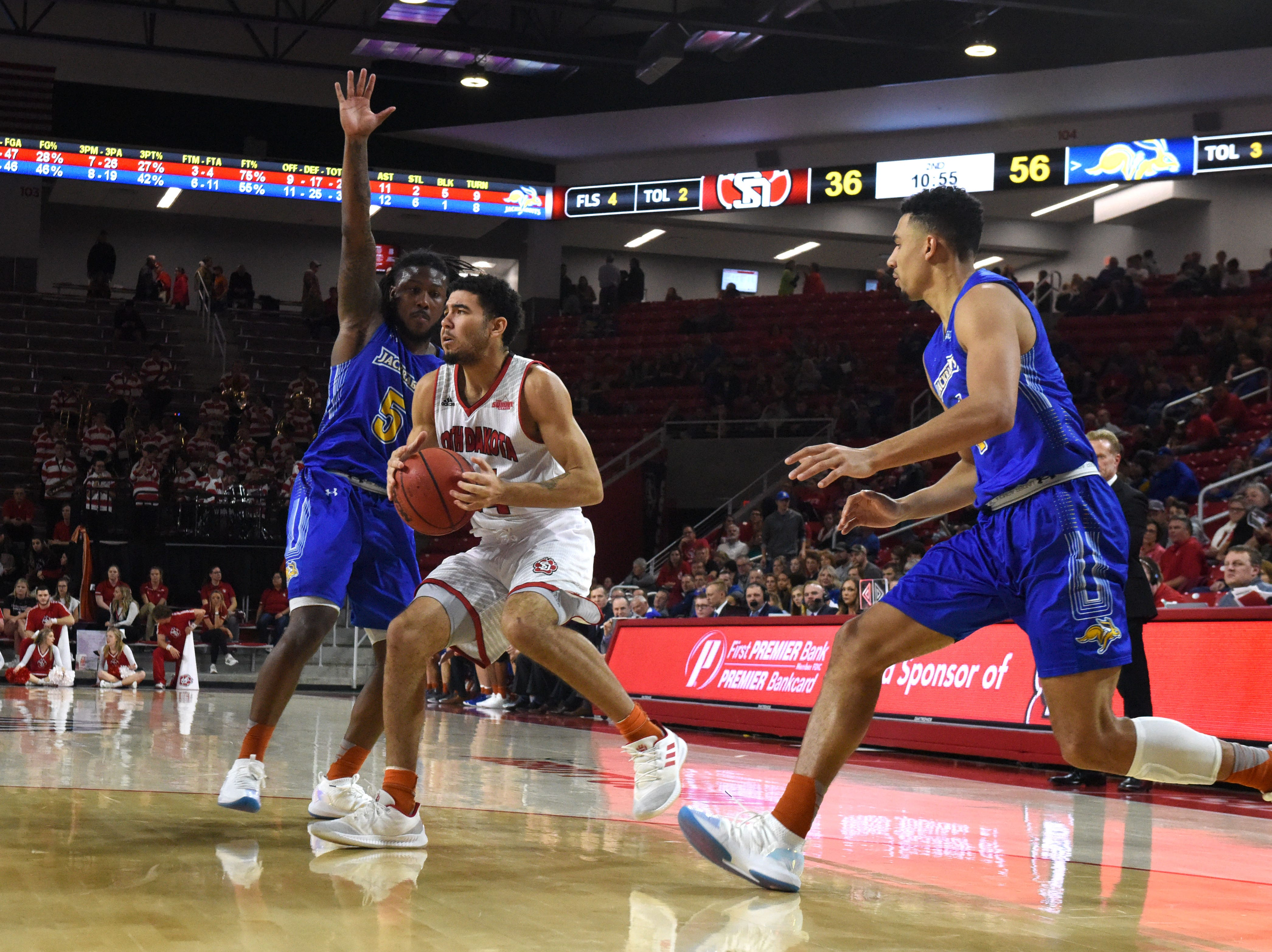 USD's Nathan Robinson dribbles the ball past SDSU players during a game, Sunday, Jan. 6, 2019 in Vermillion, S.D.
