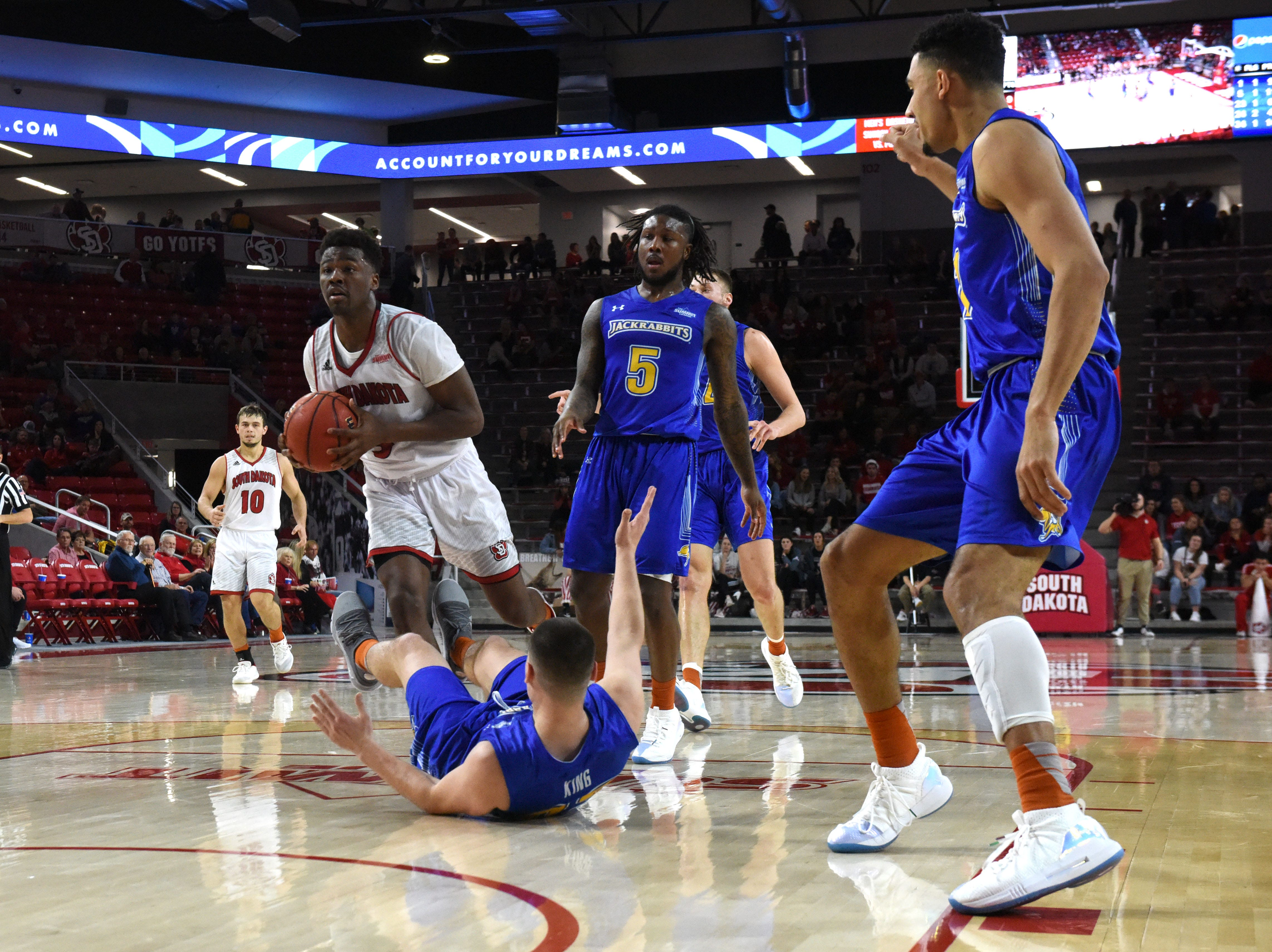 USD's Triston Simpson (3) dribbles the ball through SDSU player during a game, Sunday, Jan. 6, 2019 in Vermillion, S.D.